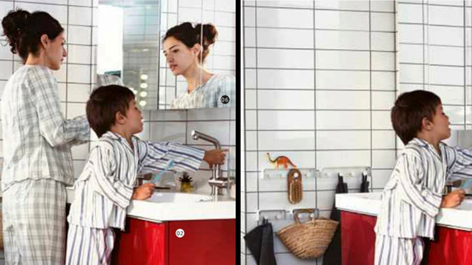 Monday Oct. 1, 2012: This is two photos made available by Ikea in Sweden and  taken from Swedish, left, and Saudi Arabian, right, IKEA catalogue for 2013. Ikea is being criticized for deleting images of women from the Saudi version of its furniture catalogue, a move the company says it regrets.