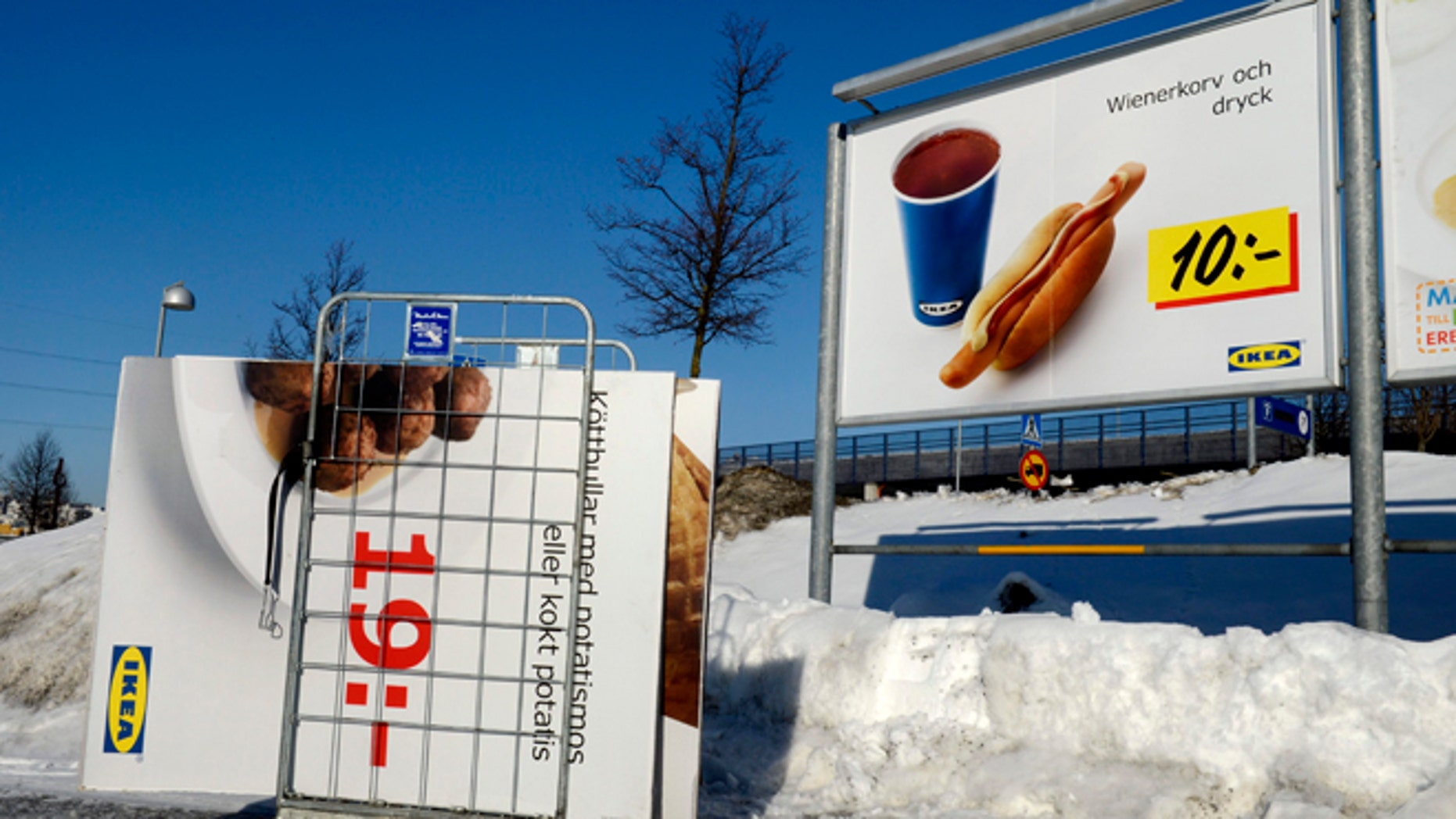Feb. 25, 2012: Advertising billboards for Ikea meat balls are taken down from a parking at the Ikea store in Stockholm, Sweden. Swedish furniture giant Ikea was drawn into Europe's widening food labeling scandal Monday as authorities in the Czech Republic said they had detected horse meat in frozen meatballs labeled as beef and pork and sold in 13 countries across the continent.