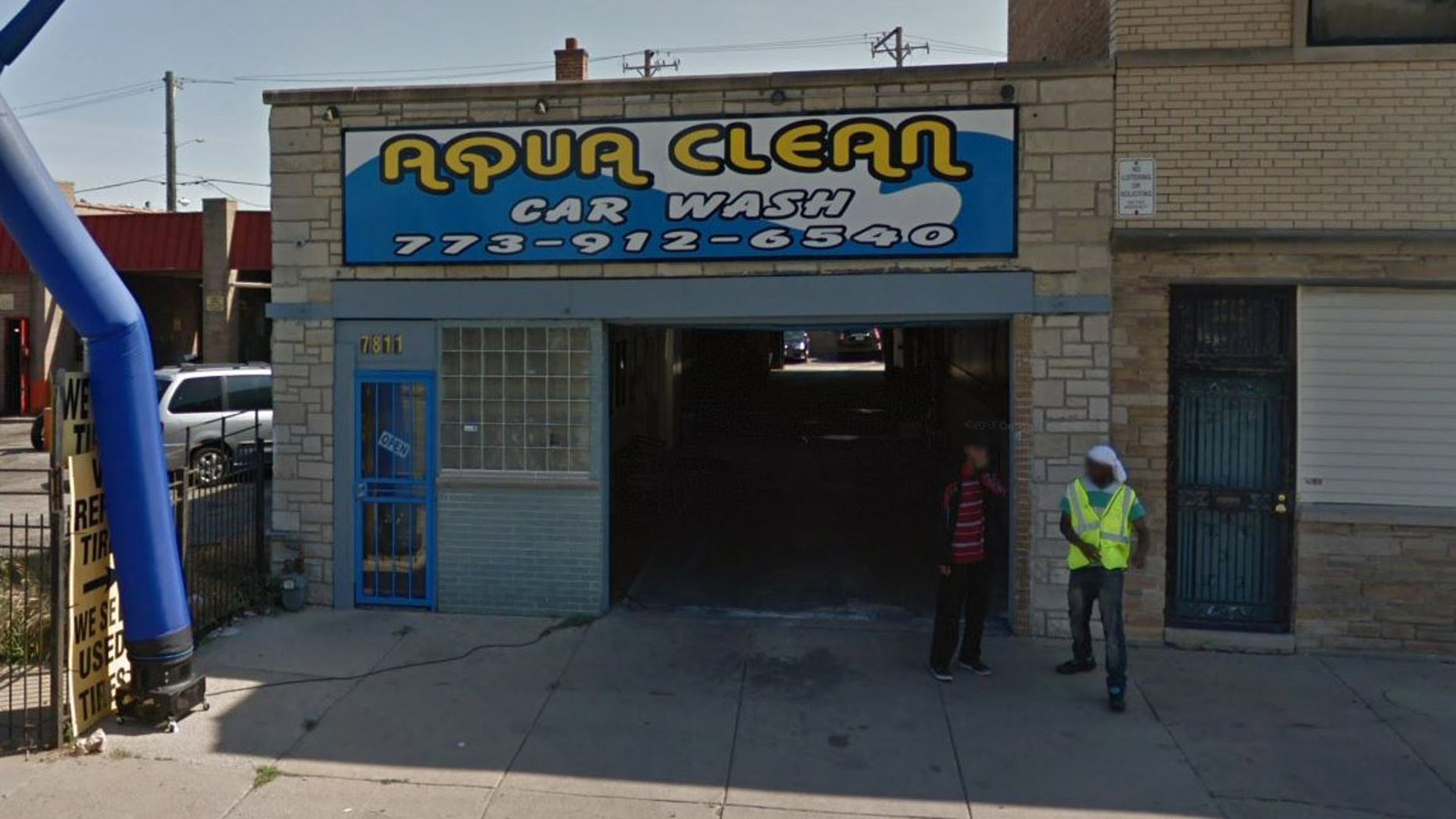 Outside the car wash where the robbery took place.