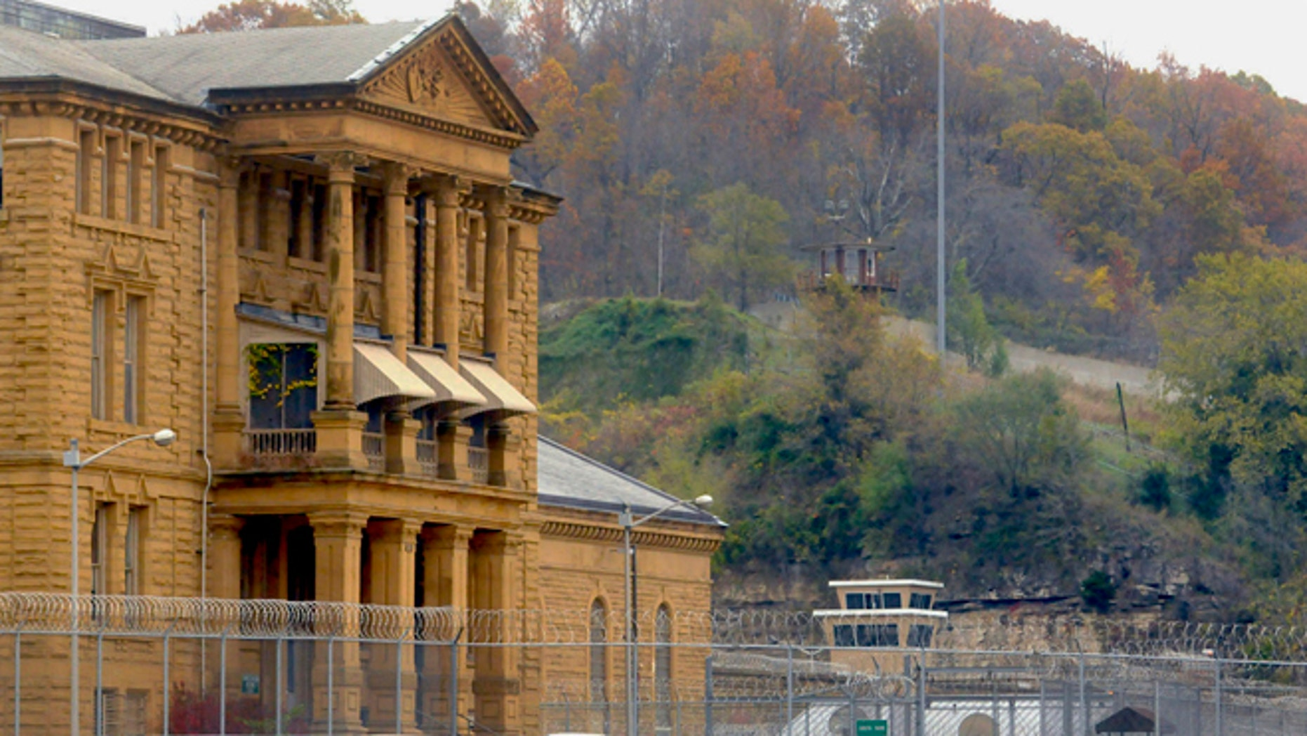This Nov. 4, 2011 photo shows the Menard Correctional Center in Chester, Ill. The Associated Press has learned that the Illinois Department of Corrections has searched guards departing at least half a dozen prisons over the last week beginning Monday, July 23, 2012.