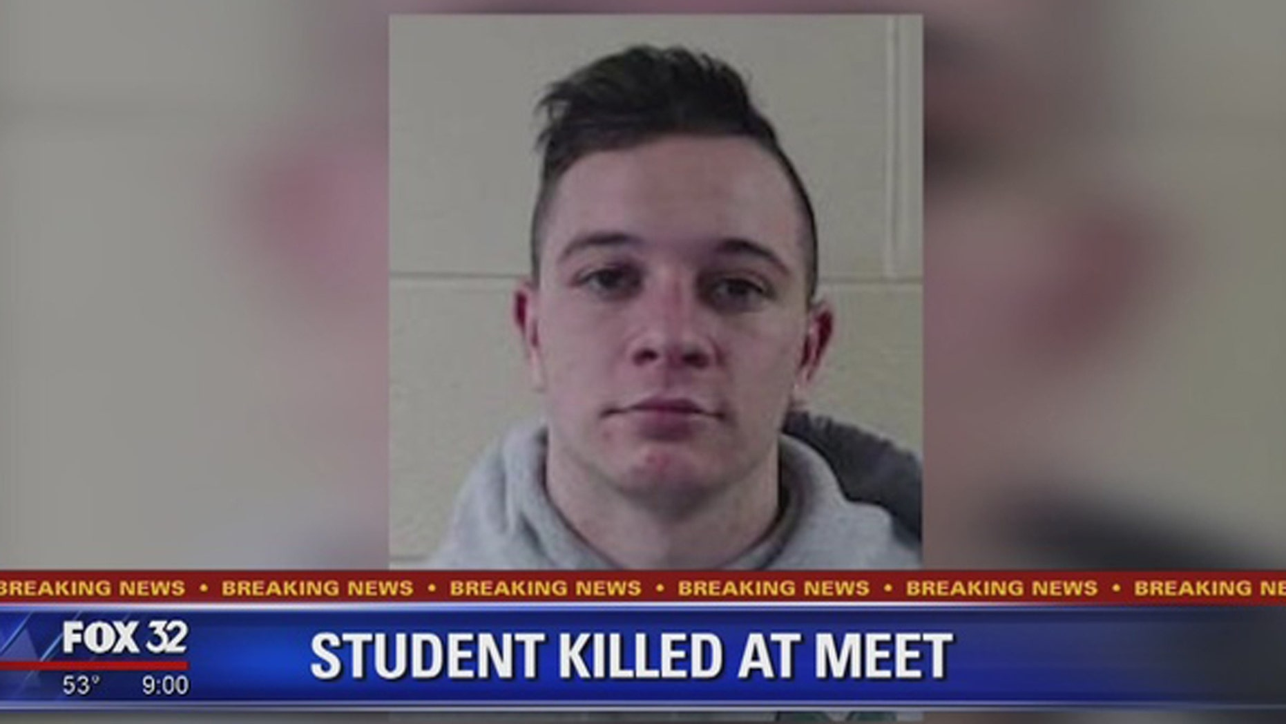 A college student was killed on Saturday during a track and field meet in suburban Chicago.