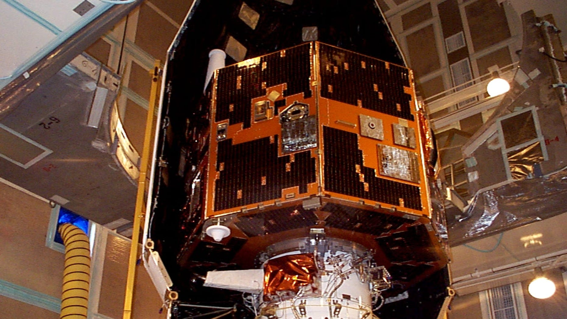 The IMAGE spacecraft as seen in 2000, before its launch.