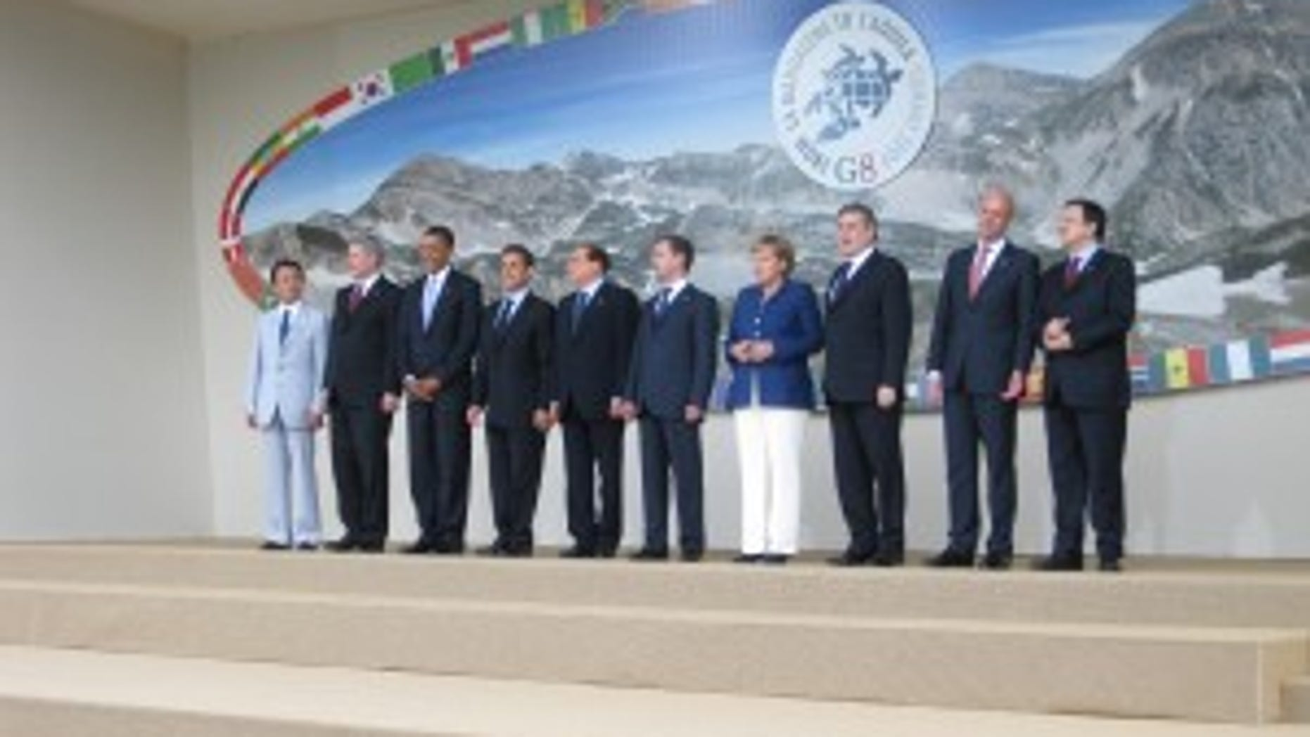 """G8 Leaders """"Class Photo"""" in L'Aquila, Italy (Photo by Eve Zibel)"""