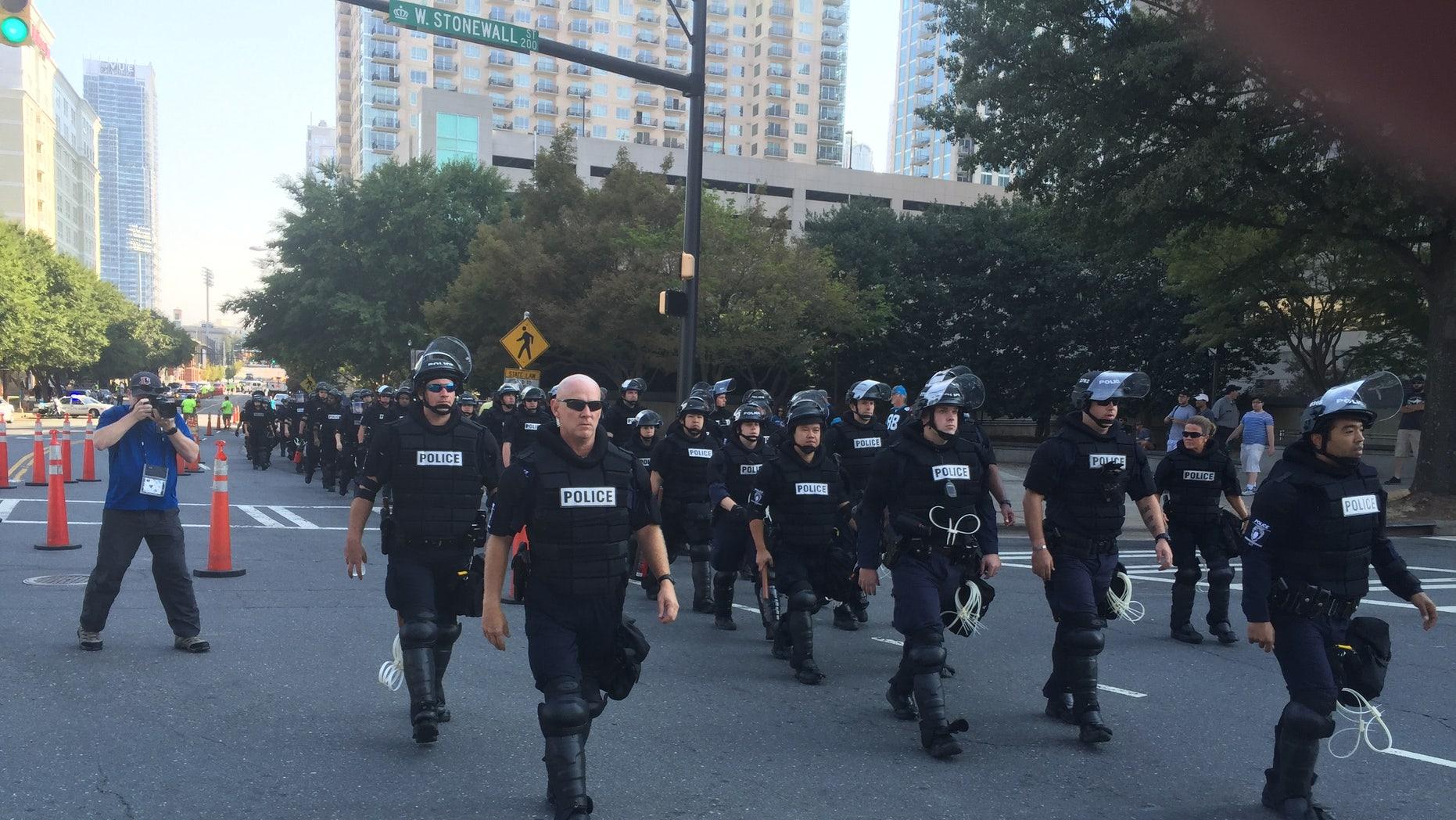Charlotte police outside Bank of America Stadium.