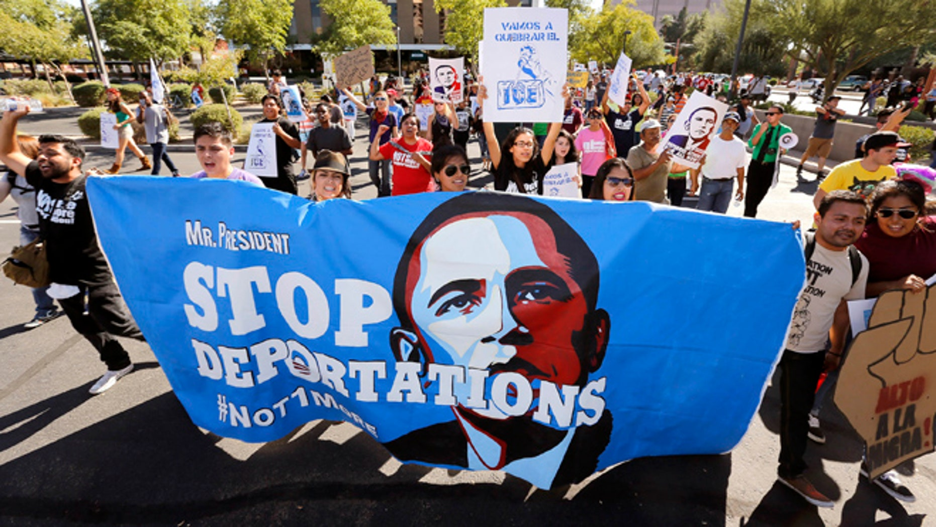FILE: Monday Oct. 14, 2013: Hundreds of people march to the U.S. Immigrations and Customs Enforcement office with a goal of stopping future deportations.