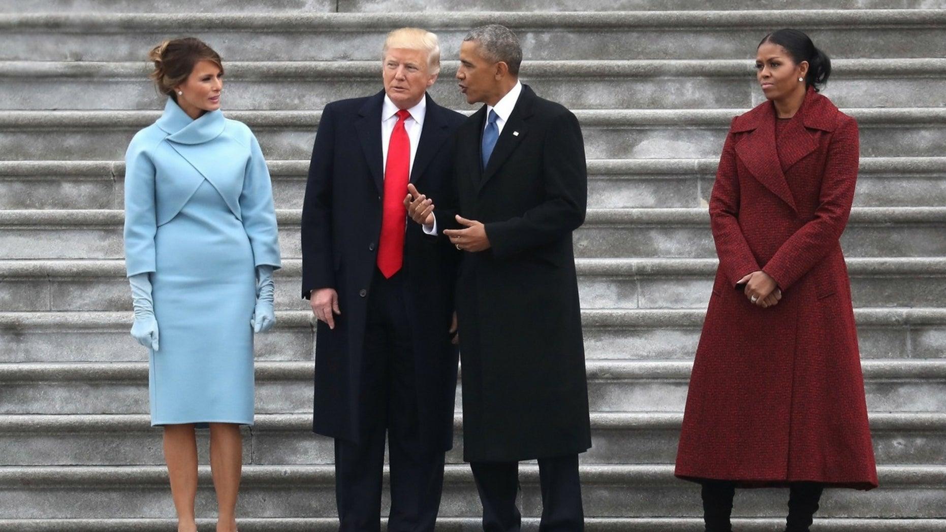 Melania Trump follows former President Barack Obama on her first lady Twitter handle.