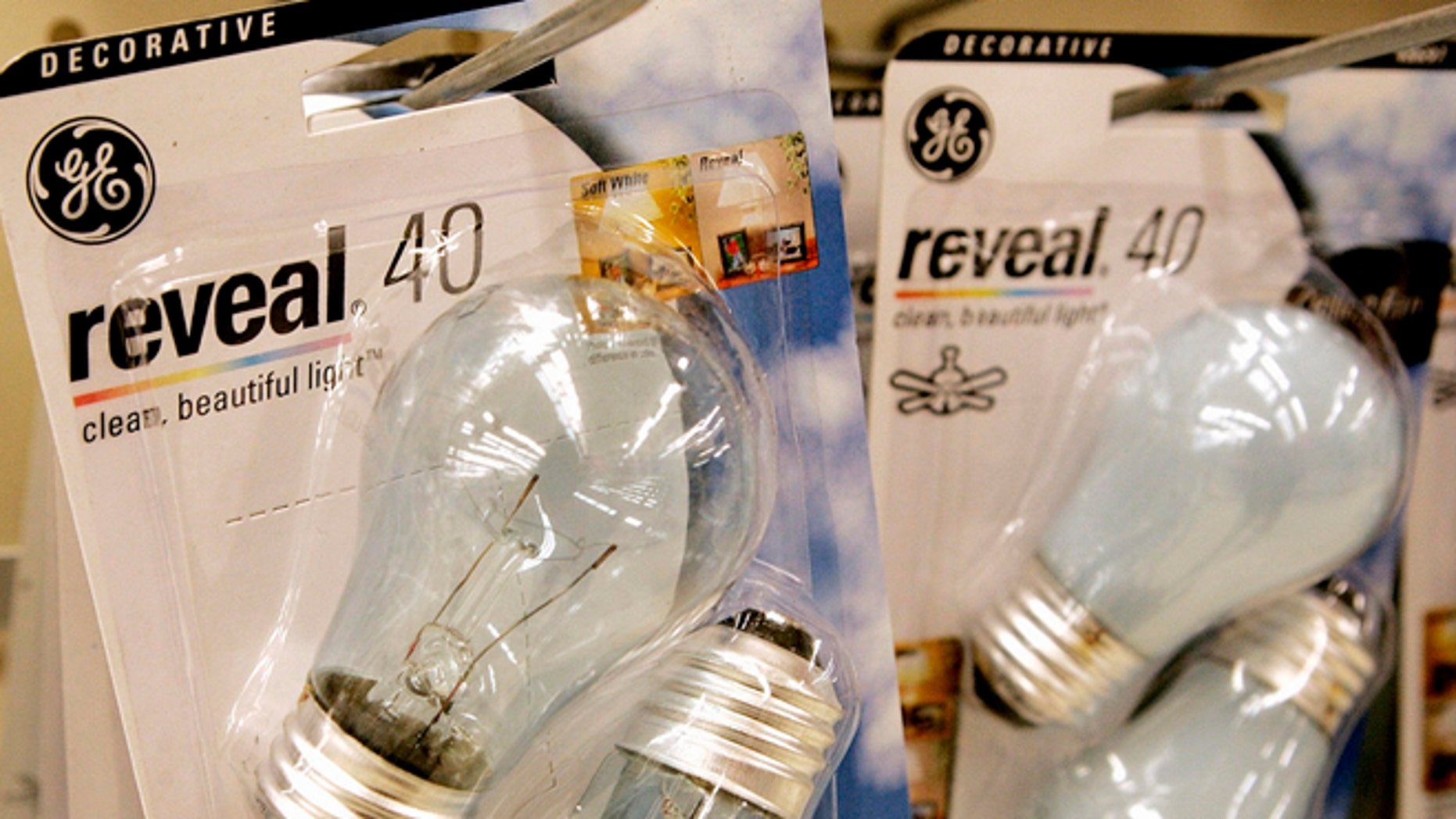 General Electric light bulbs on display at a supermarket in Denver.