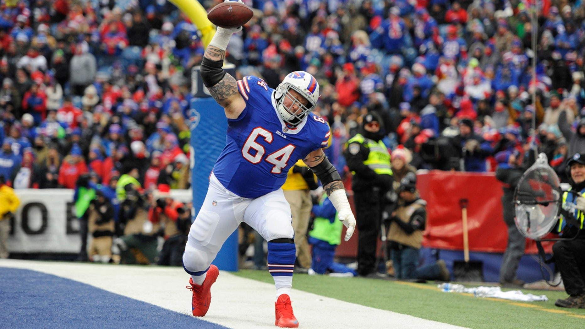 Buffalo Bills offensive guard Richie Incognito spikes the football after a Bills touchdown on Sunday.