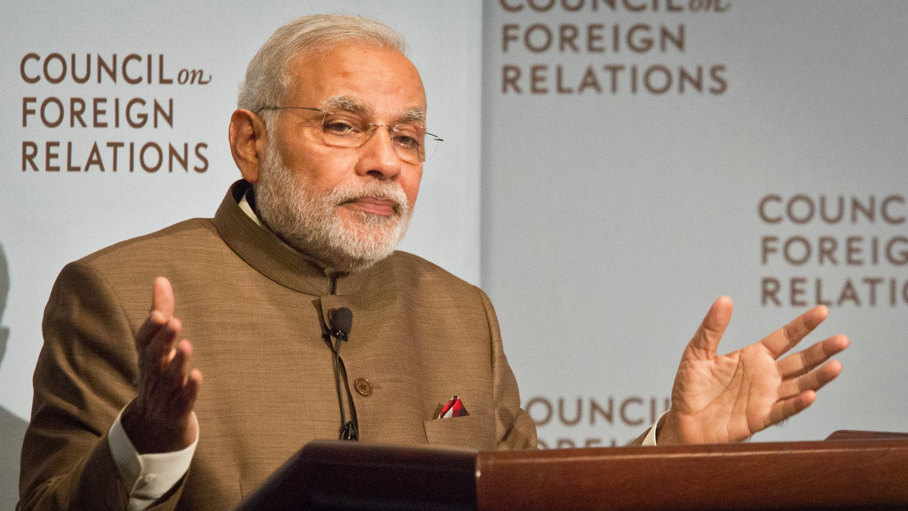 India's Prime Minister Narendra Modi speaks during a press conference at the Council on Foreign Relations, Monday, Sept. 29, 2014 in New York. (AP Photo/Bebeto Matthews)