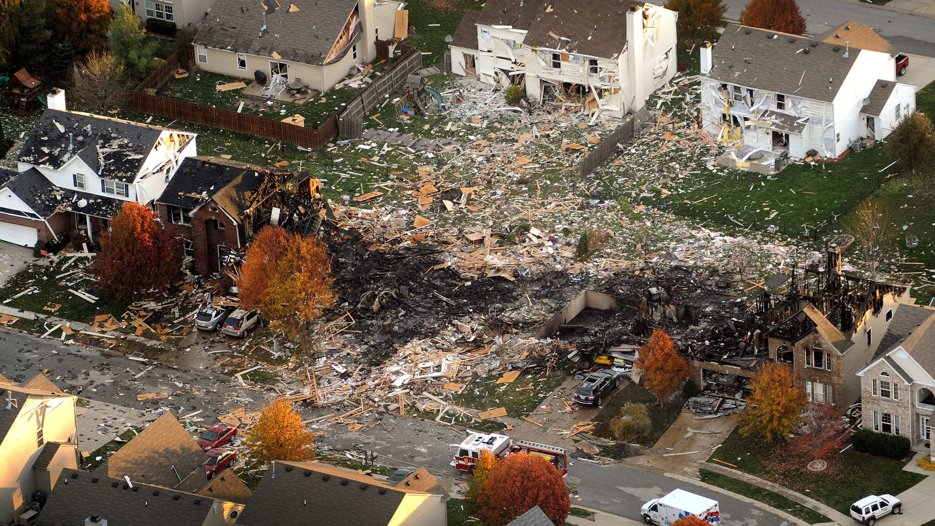Nov. 11, 2012: This aerial file photo shows the two homes that were leveled and the numerous neighboring homes that were damaged from a massive explosion that sparked a huge fire and killed two people in Indianapolis.