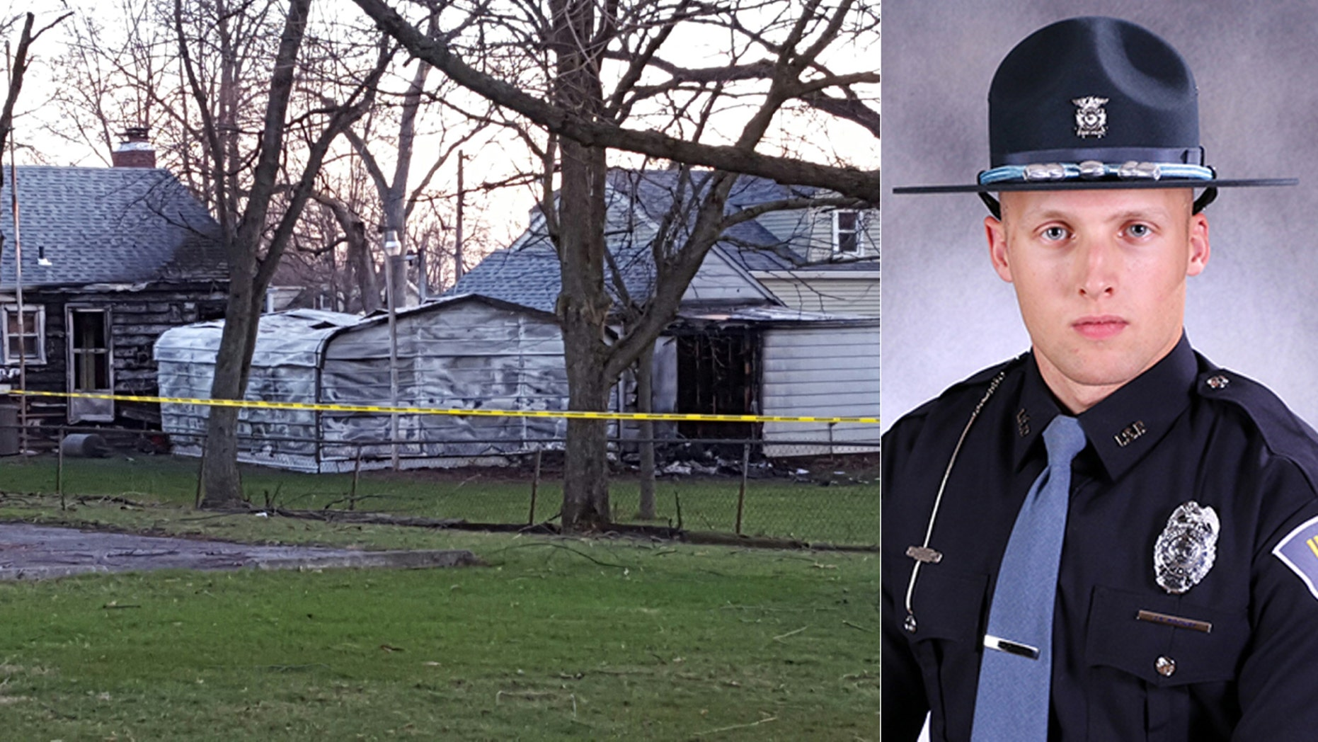 The scene of the fire (left) and Indiana State Police Trooper Jacob Ridgway (right).