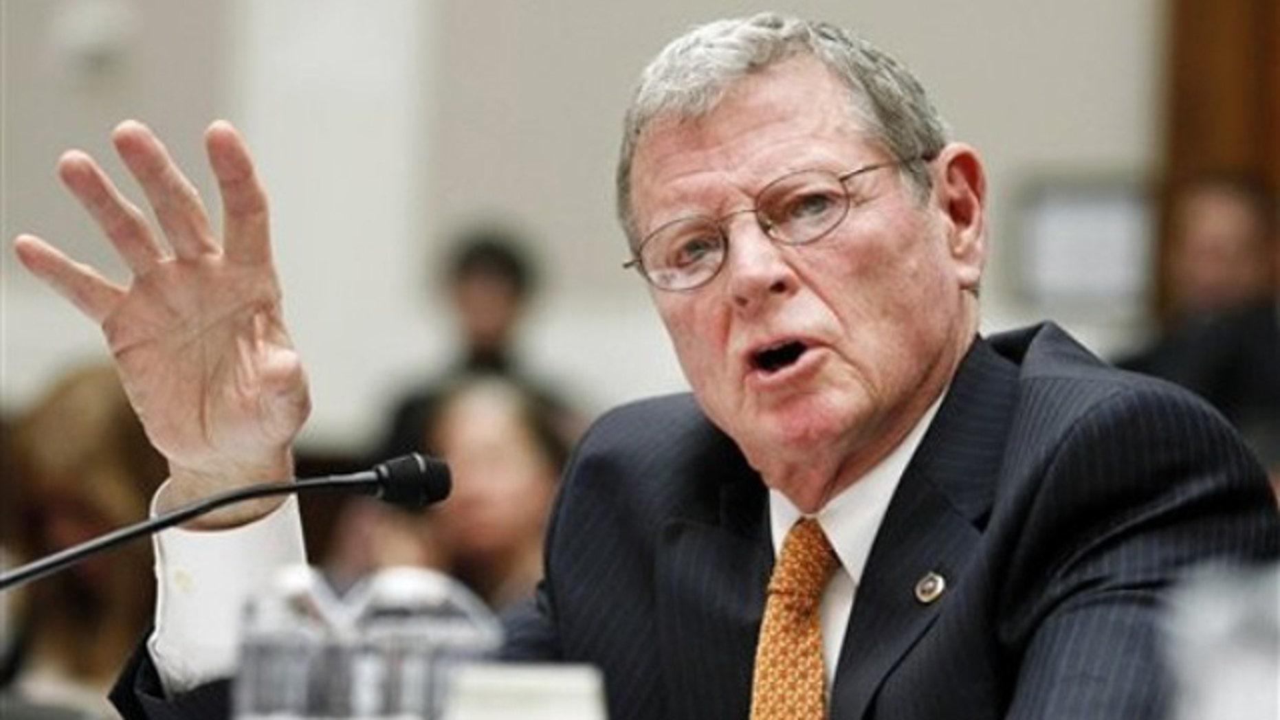 FILE: Feb. 9, 2011: Sen. James Inhofe testifies on Capitol Hill, Washington, D.C.