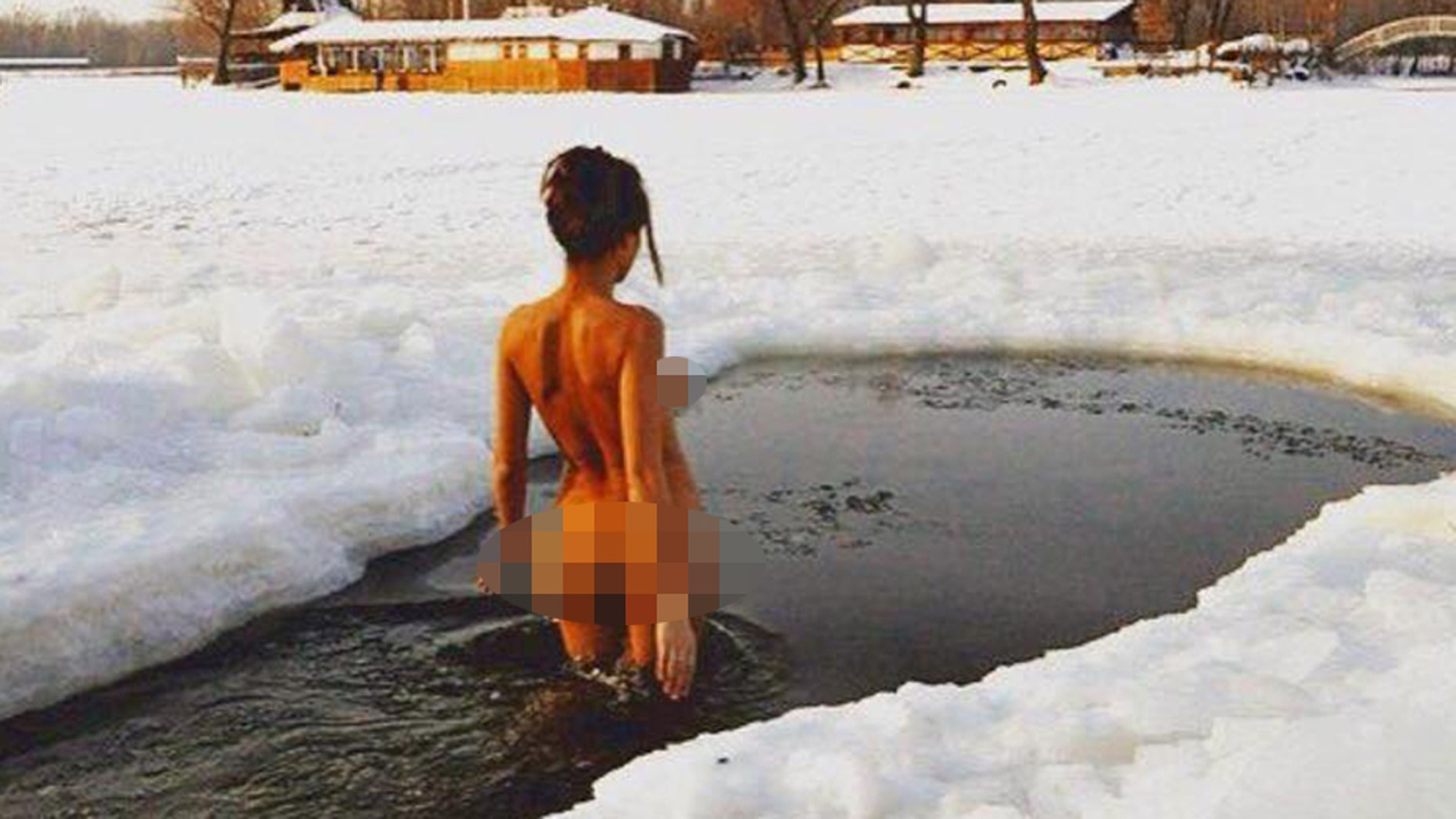 Inna Vladimirskaya, 32, says the trick to looking young is nude jogging and dips in freezing cold water.