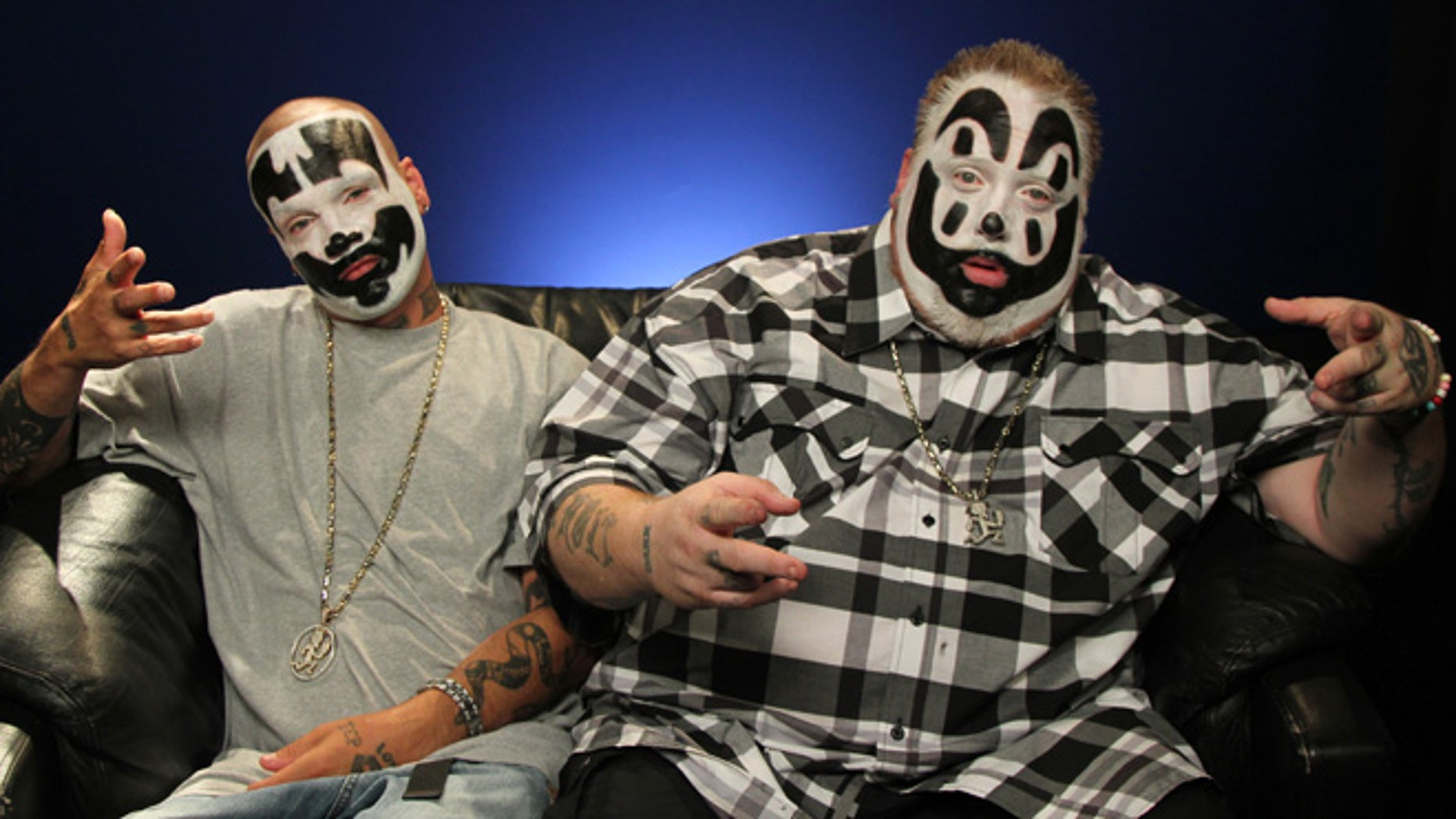 July 29, 2013: This photo shows Joseph Utsler, also known as Shaggy 2 Dope, left, and  Joseph Bruce, also known as Violent J, from Insane Clown Posse, in New York.