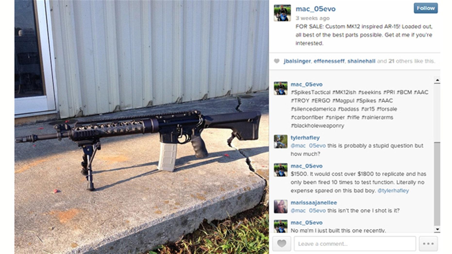 "Instagram user mac_05evo is selling a ""custom MK12 inspired AR-15"" on the popular photo app. (Screenshot by FoxNews.com)"