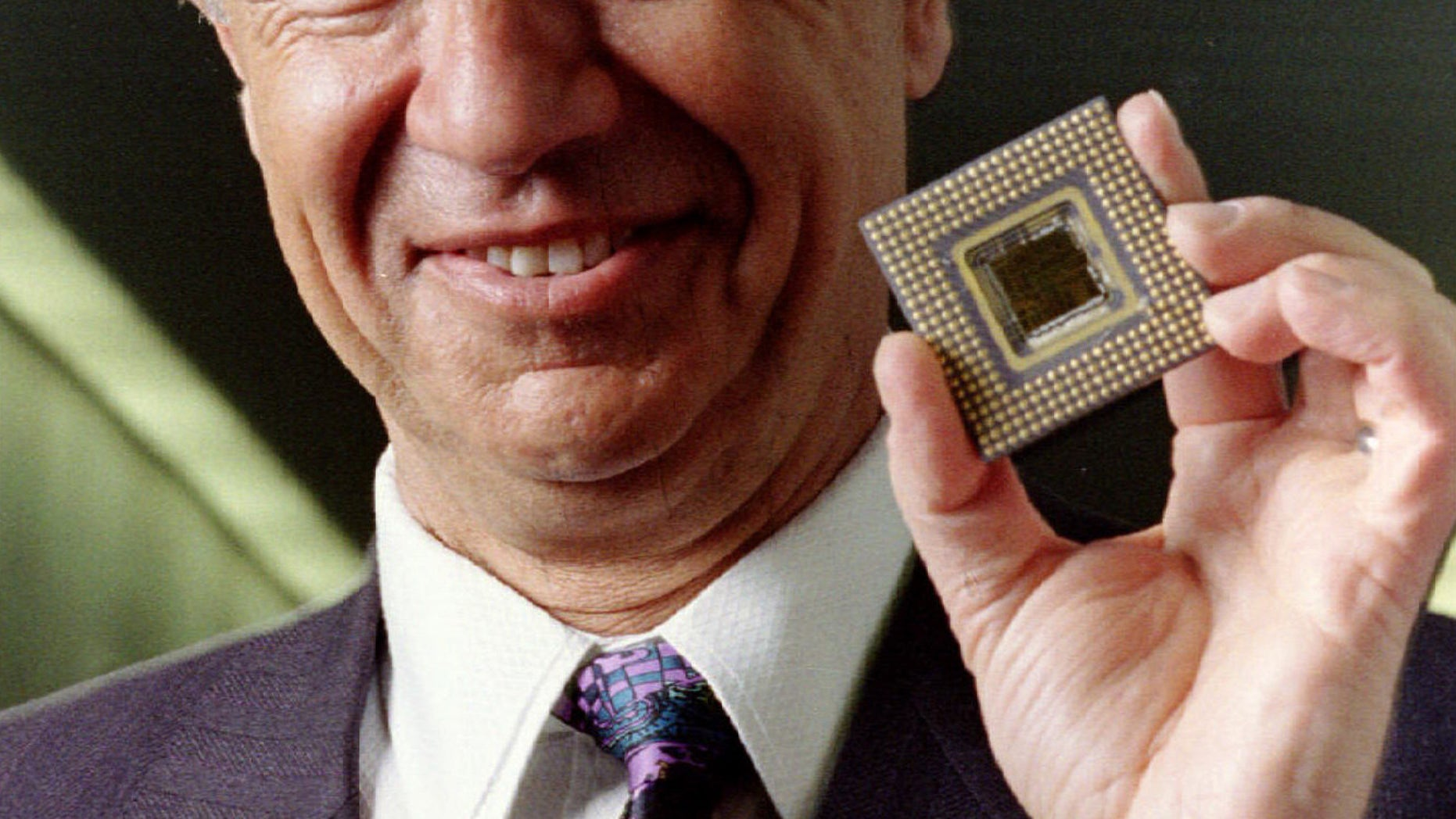 March 22, 1993: Intel Corp. President and CEO Andy Grove shows off the company's long-awaited Pentium microprocessor.