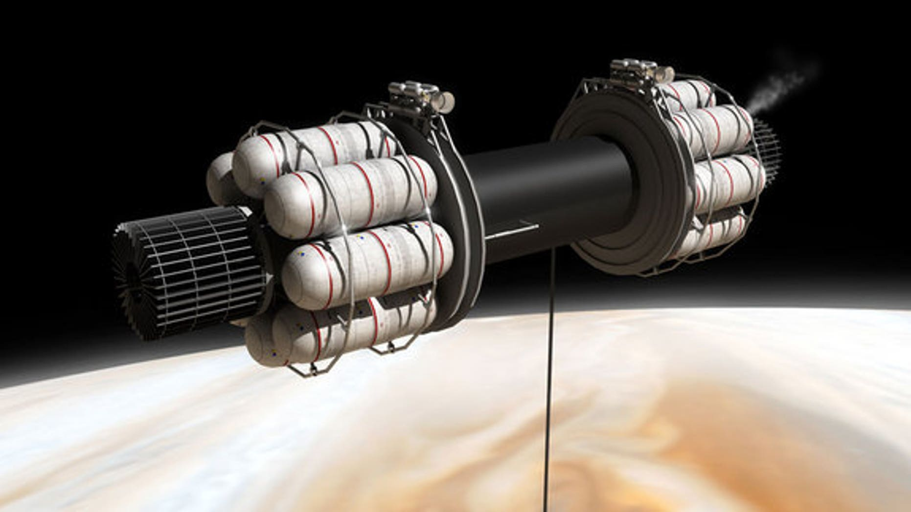 Obtaining the exotic fuels needed for interstellar flight is a major challenge – here a scheme is shown where a spacecraft in low orbit around Jupiter lowers an extremely long tube into the atmosphere, sucking up and processing gases.