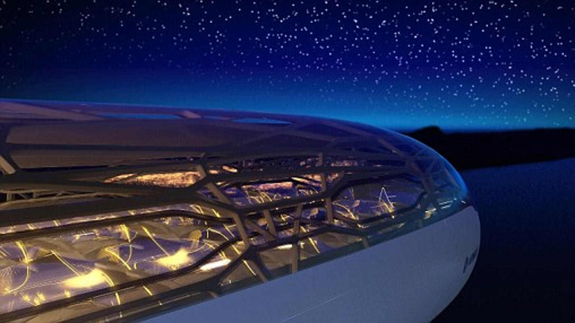 """Undated Airbus handout image of artists impression of the exterior view of an """"intelligent"""" concept cabin that air travellers in 2050 might fly in designed by Airbus."""