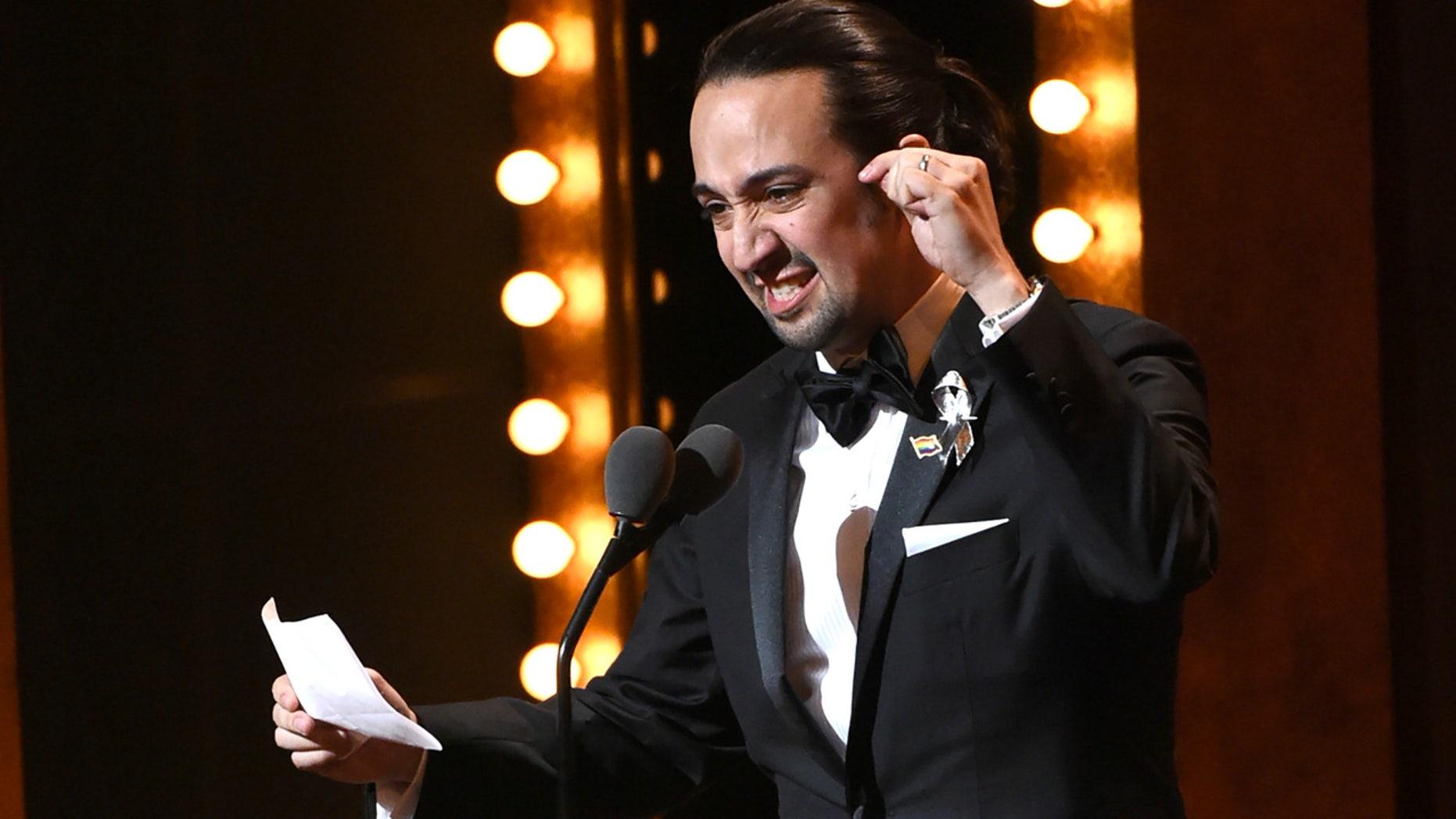 "June 12, 2016: Lin-Manuel Miranda accepts the award for best original score for ""Hamilton"" at the Tony Awards at the Beacon Theatre in New York."