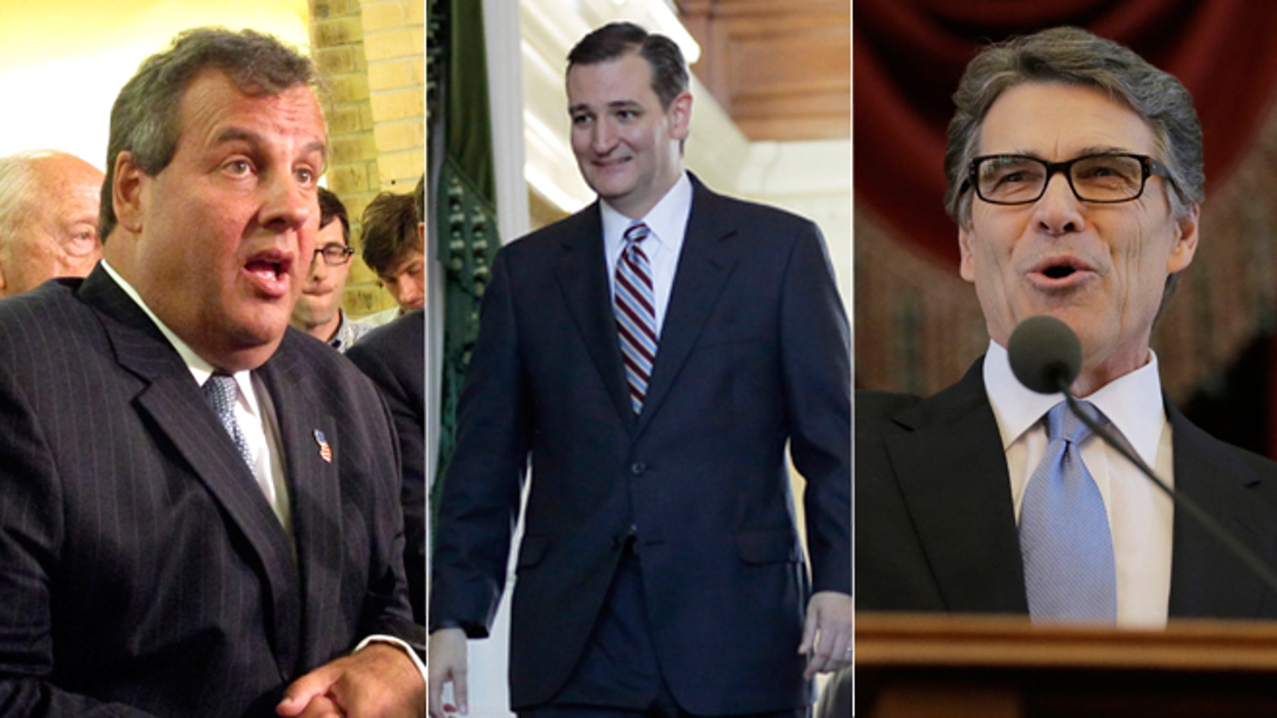 Shown here are New Jersey Gov. Chris Christie, left; Texas Sen. Ted Cruz, center; and former Texas Gov. Rick Perry.