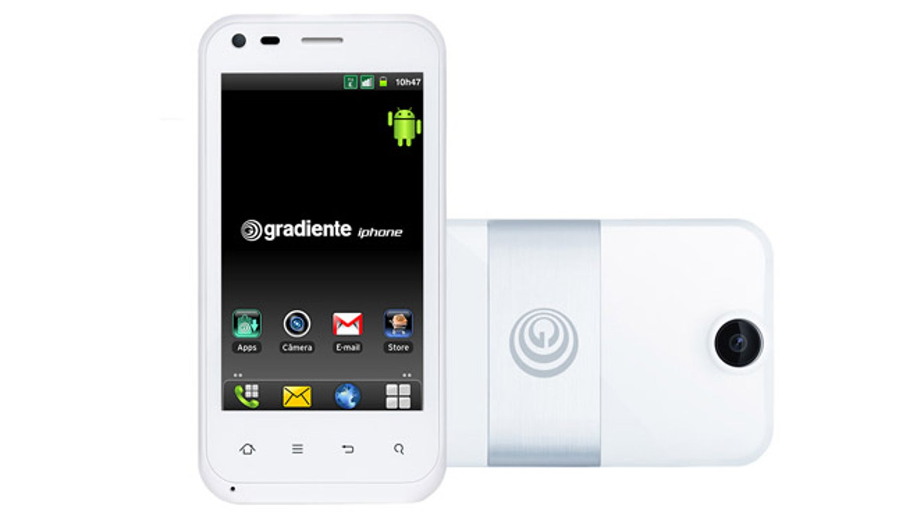 Brazilian tech company Gradiente filed its request to use the iPhone brand in 2000, and currently sells phones like this one with that brand.