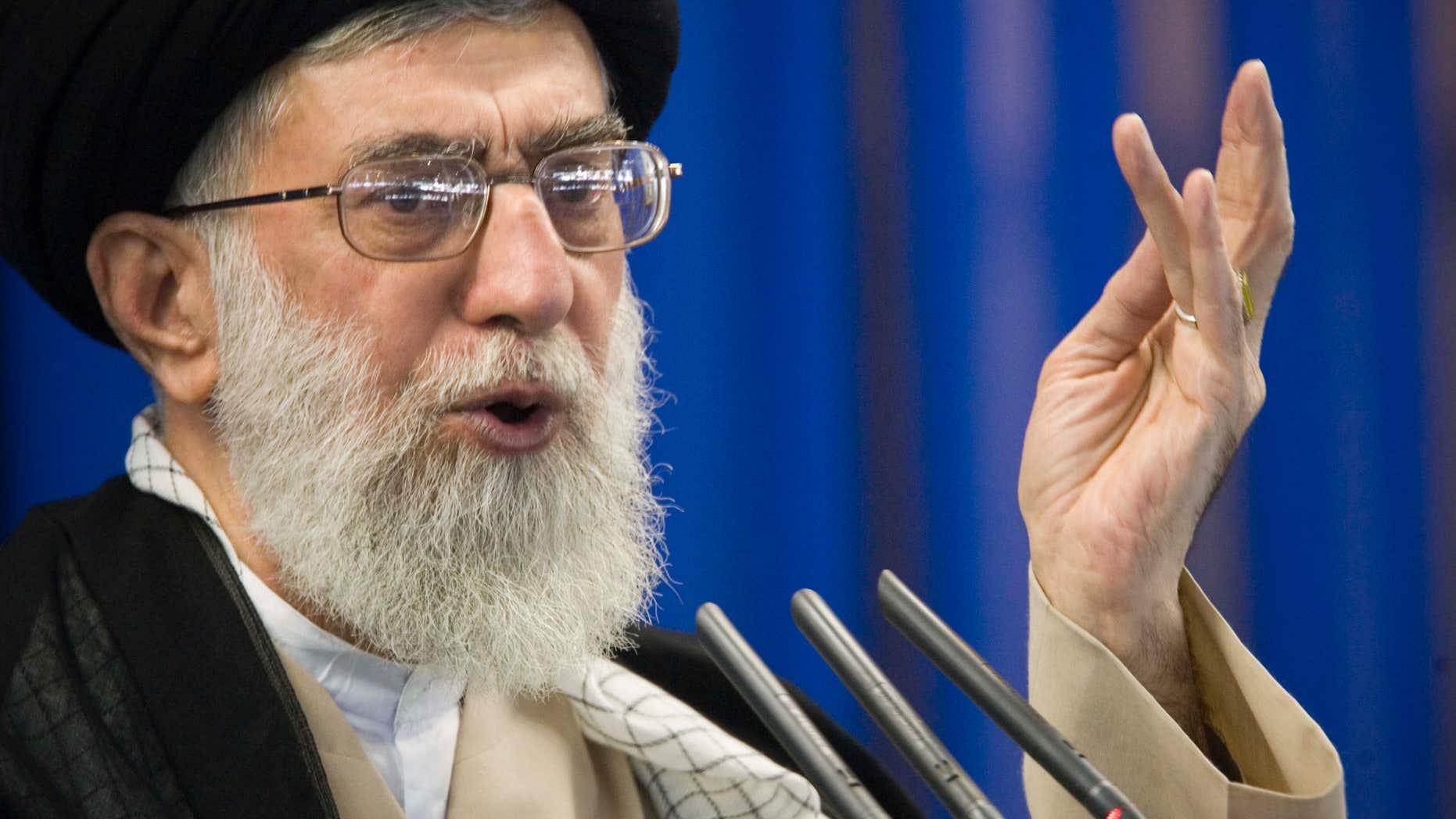 Sept. 14, 2007: ran's supreme leader Ayatollah Ali Khamenei speaks during Friday prayers in Tehran.