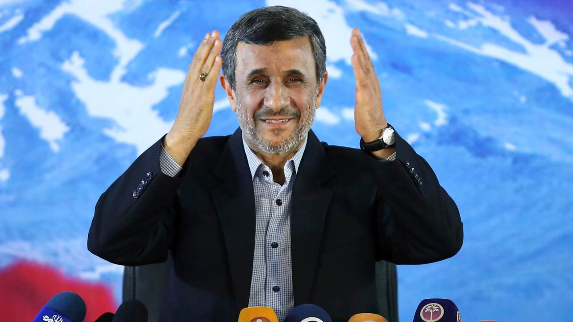 FILE- In this Wednesday, April, 5, 2017 file photo, former Iranian President Mahmoud Ahmadinejad gives a press conference in Tehran, Iran.
