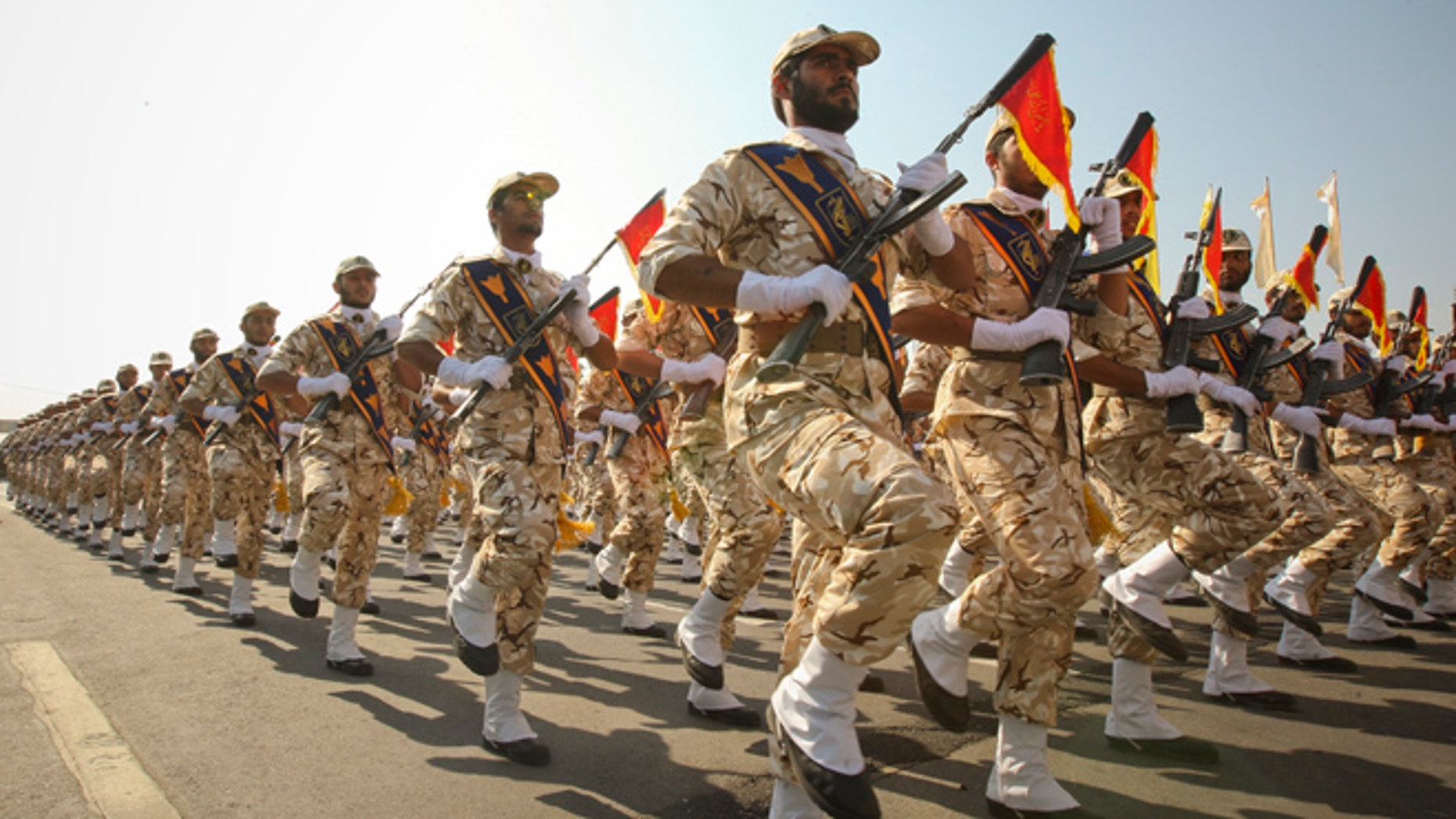 Sept. 22, 2011: Members of the Iranian Revolutionary Guard march during a parade to commemorate the anniversary of the Iran-Iraq war (1980-88) in Tehran.