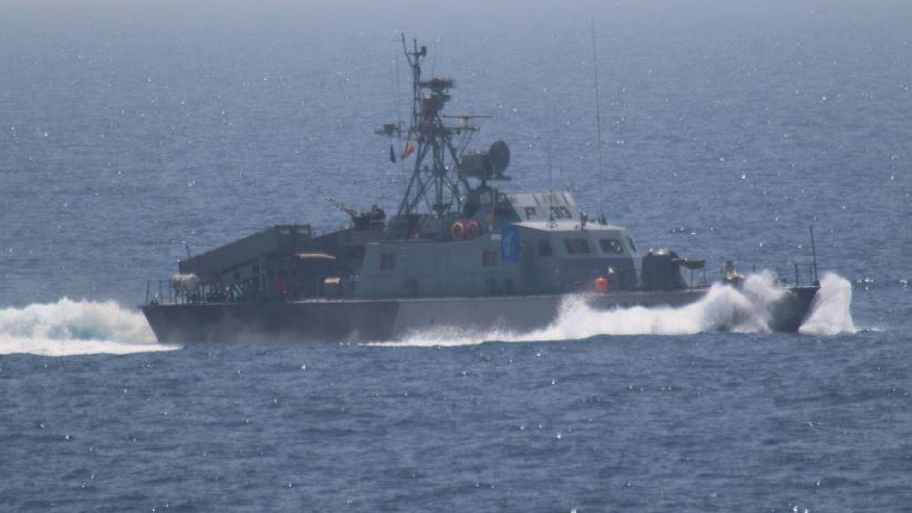 One of the five military vessels from Iran's Revolutionary Guard Corps that approached a U.S. warship hosting one of America's top generals on a day trip through the Strait of Hormuz is pictured in this July 11, 2016 handout photo.