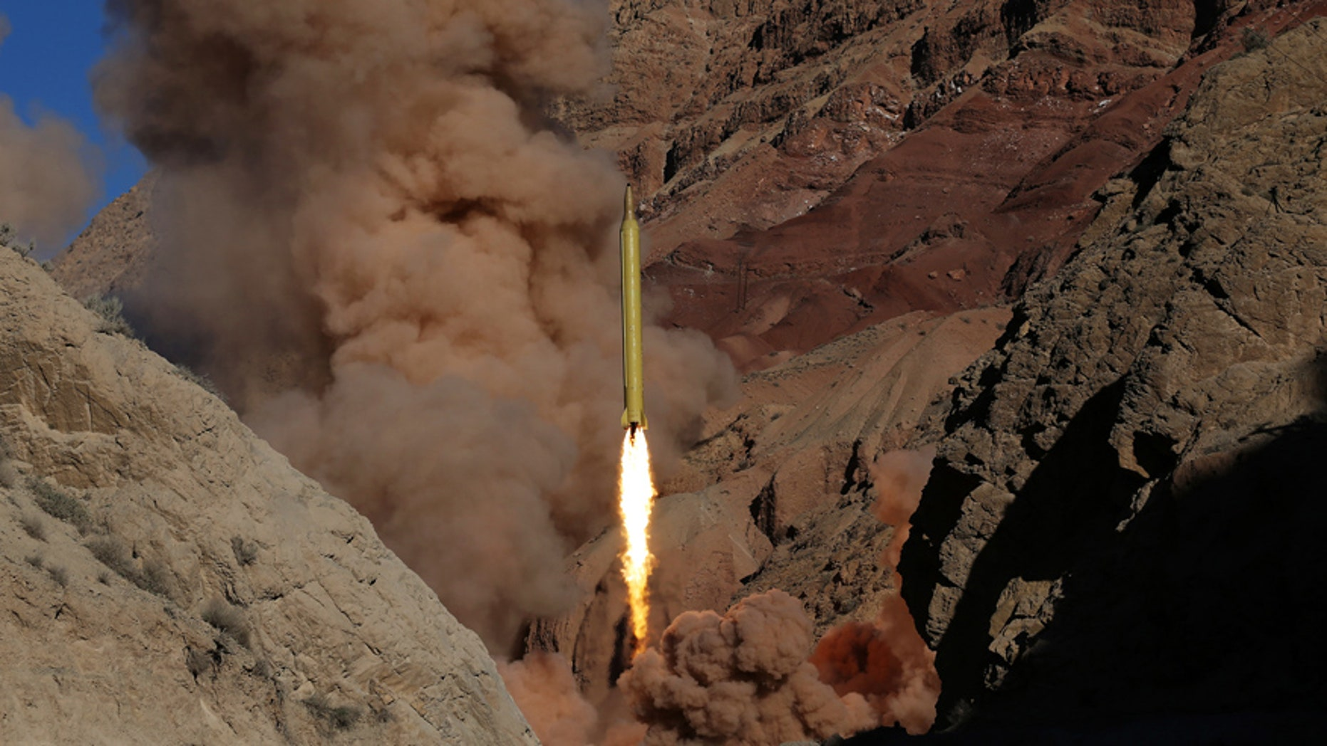 March 9, 2016: In this photo obtained from the Iranian Fars News Agency, a Qadr H long-range ballistic surface-to-surface missile is fired by Iran's powerful Revolutionary Guard, during a maneuver, in an undisclosed location in Iran.