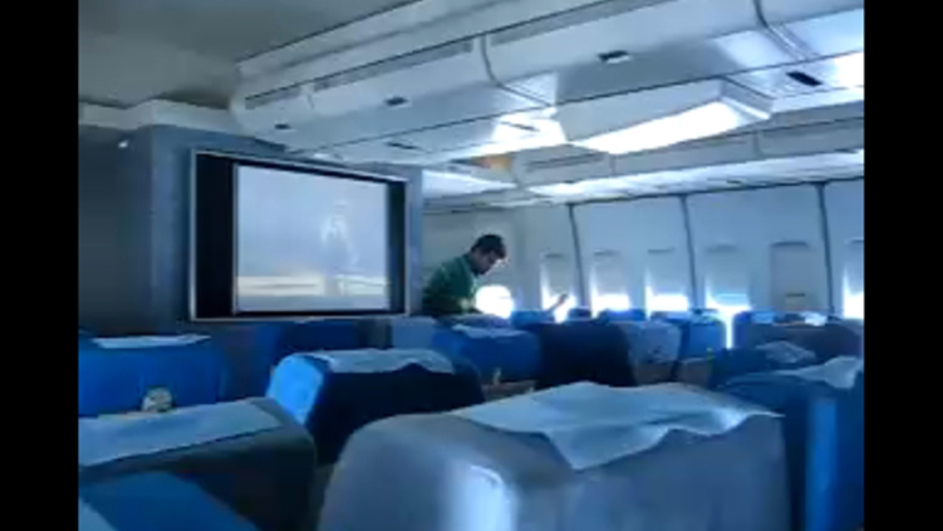 Image taken from a video of the inside of the cabin of Flight IR744 in May 2007.