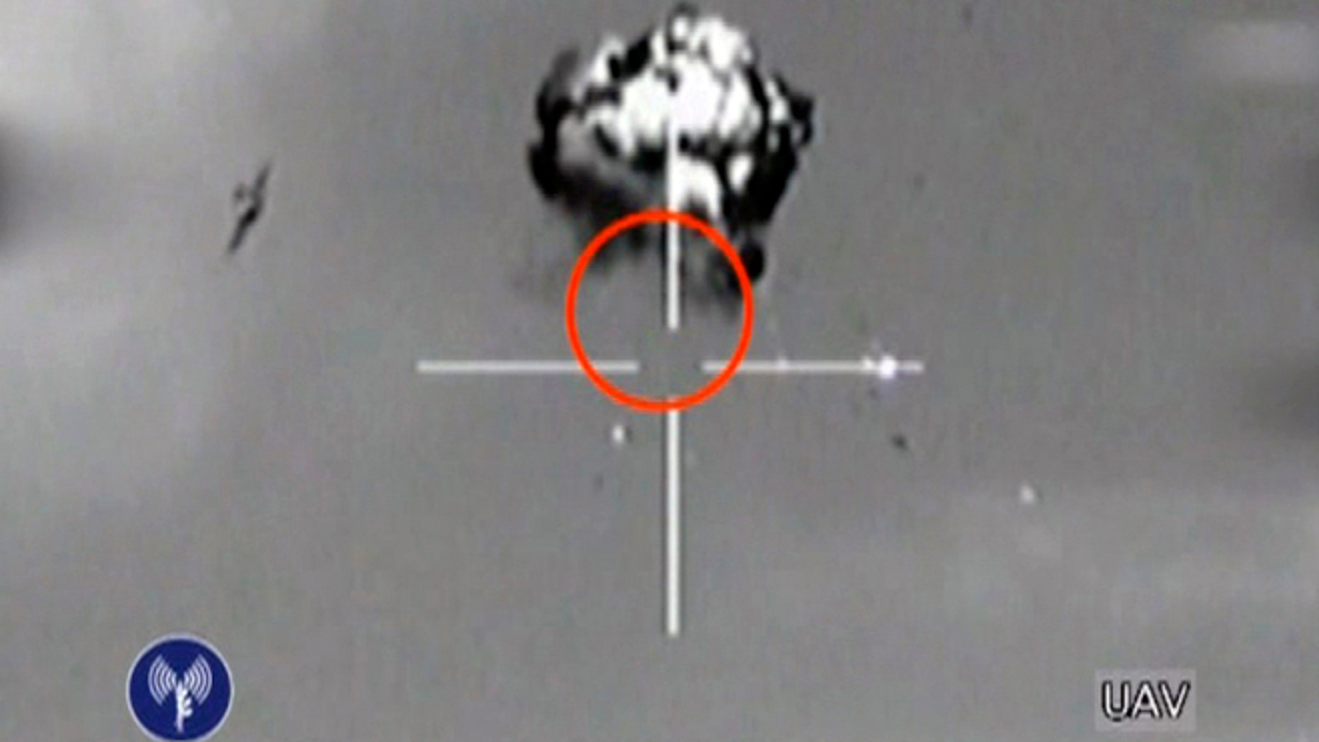 Oct. 6, 2012: This file image made from video released by the Israeli Defense Forces shows the downing of a drone that entered Israeli airspace in southern Israel.
