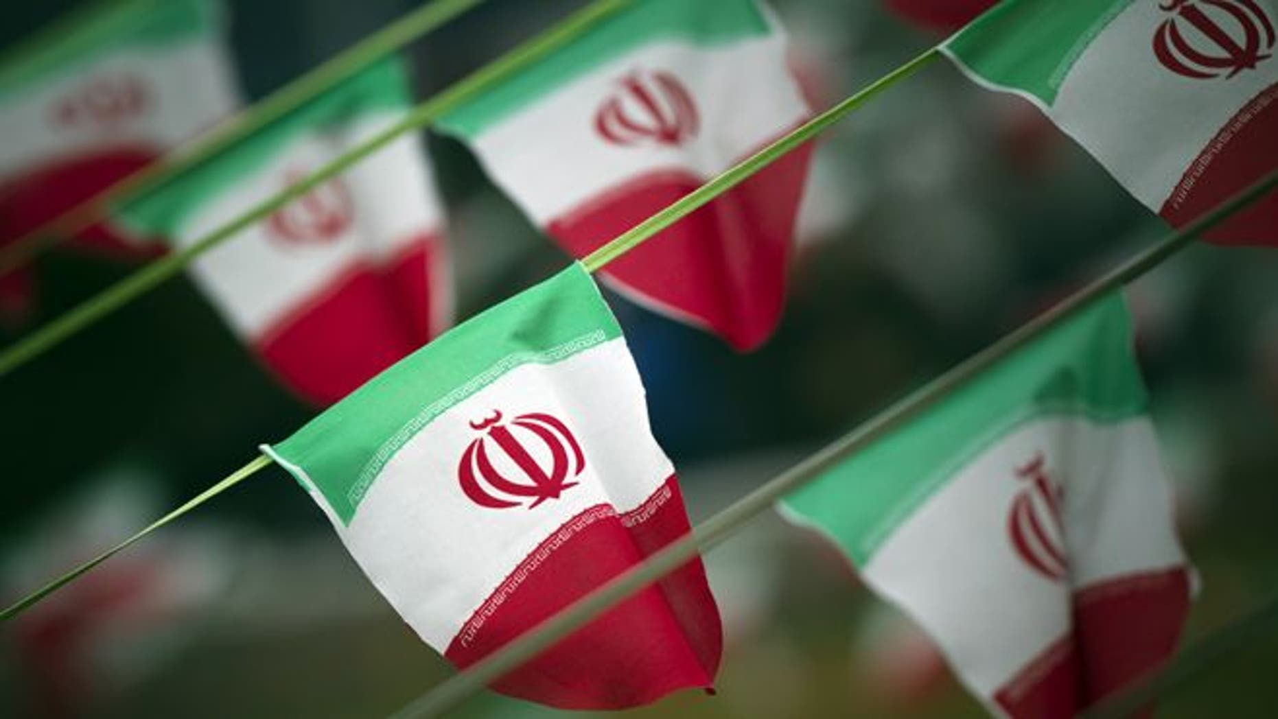 Feb. 10. 2012: Iran's national flags are seen on a square in Tehran a day before the anniversary of the Islamic Revolution.
