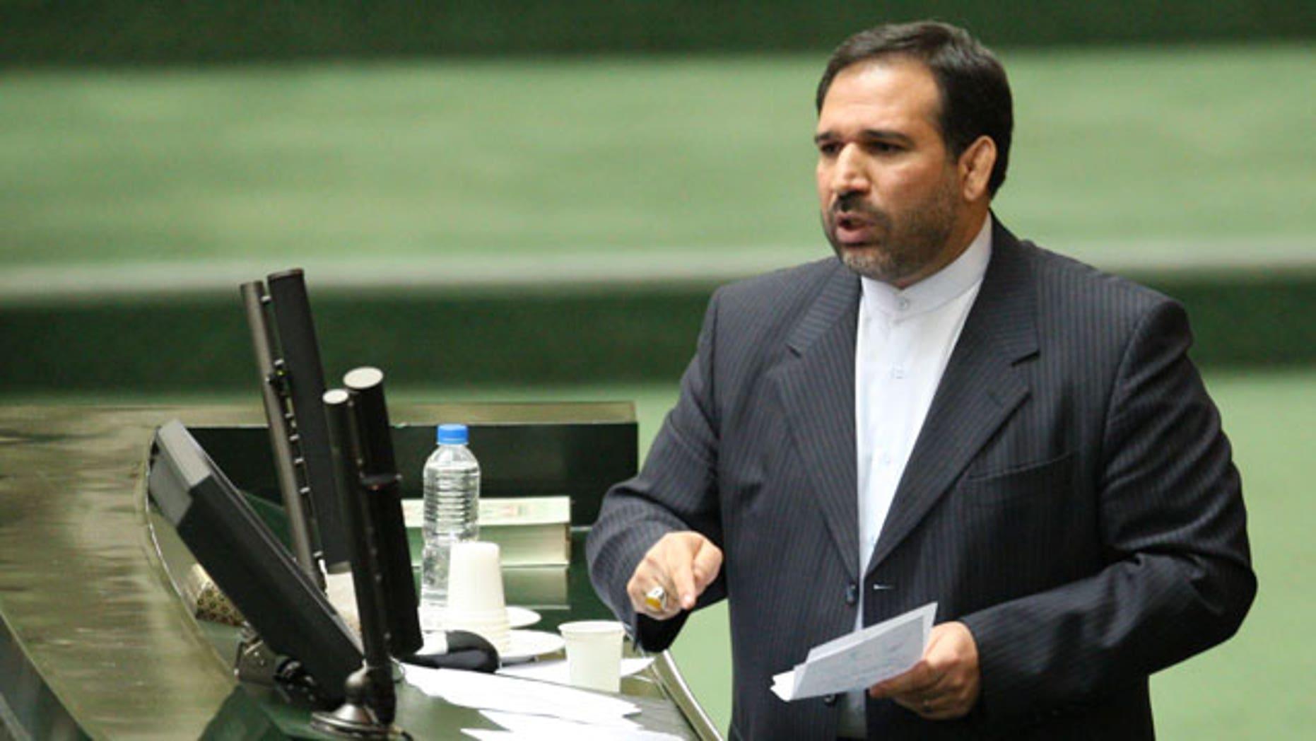 Nov. 1, 2011: Iran's Economy Minister, Shamsoddin Hosseini, speaks in an open session of parliament during his impeachment, in Tehran, Iran.