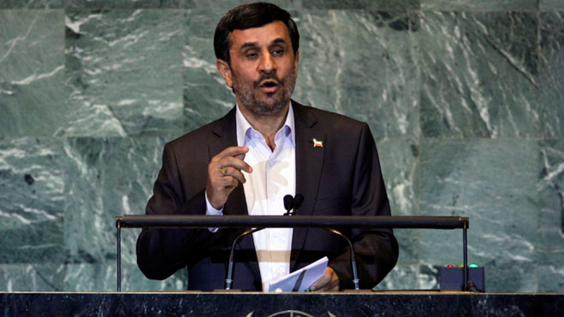 Sept. 22, 2011: In this file photo, Iran's President Mahmoud Ahmadinejad addresses the 66th session of the United Nations General Assembly.