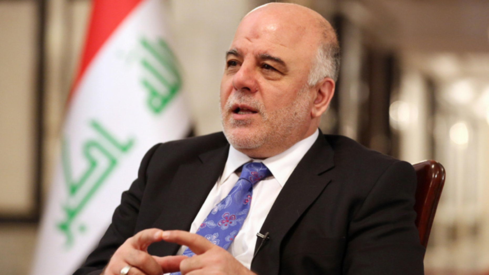 Sept. 17, 2014: Iraq's Prime Minister Haider al-Abadi speaks during an interview with The Associated Press in Baghdad, Iraq. Iraqs new prime minister says foreign ground troops are neither necessary nor wanted in his country's fight against the Islamic State group.