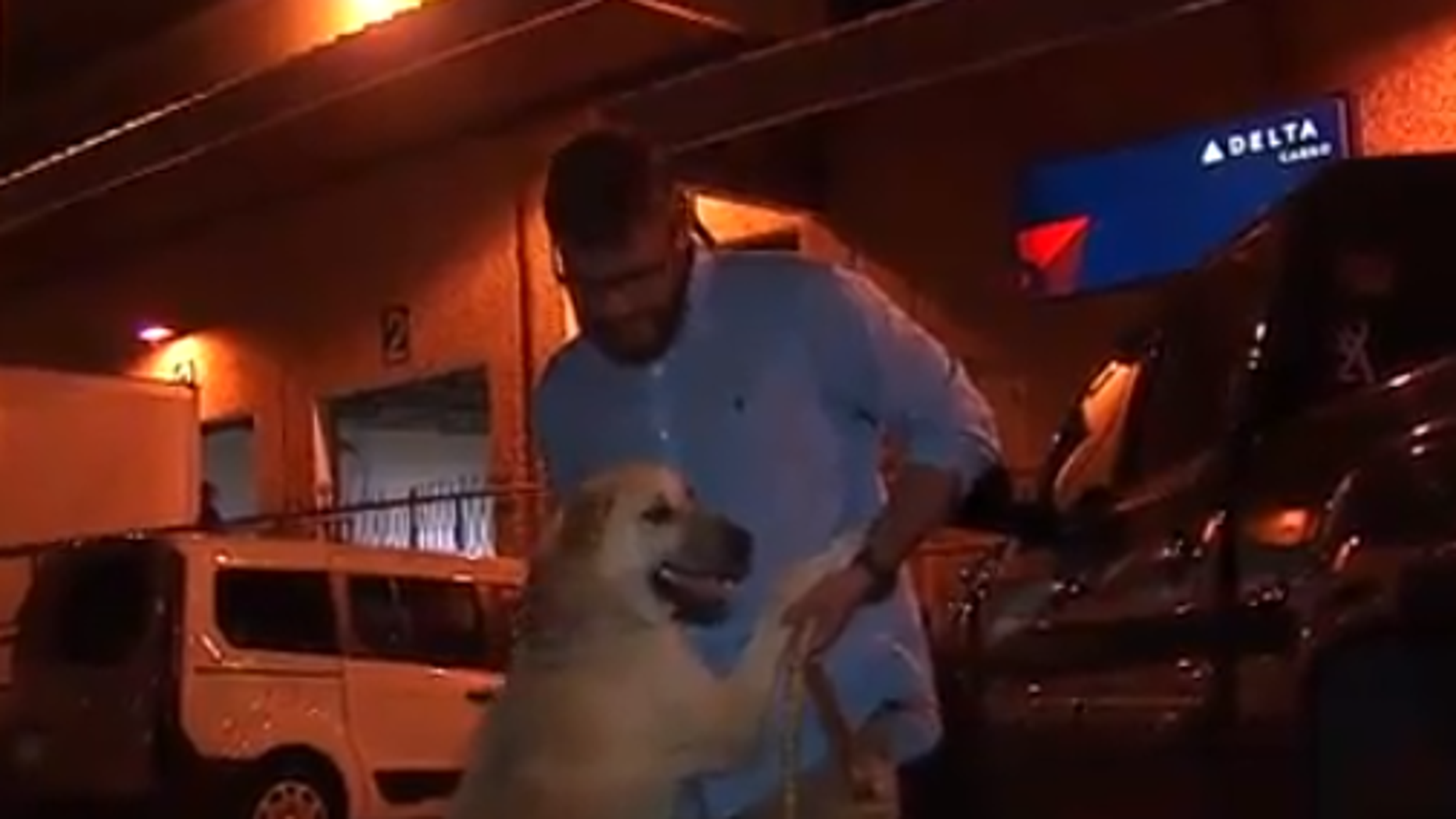 Iraq veteran Jonathan Lewis and his dog Peanut were reunited Tuesday after spending months apart.