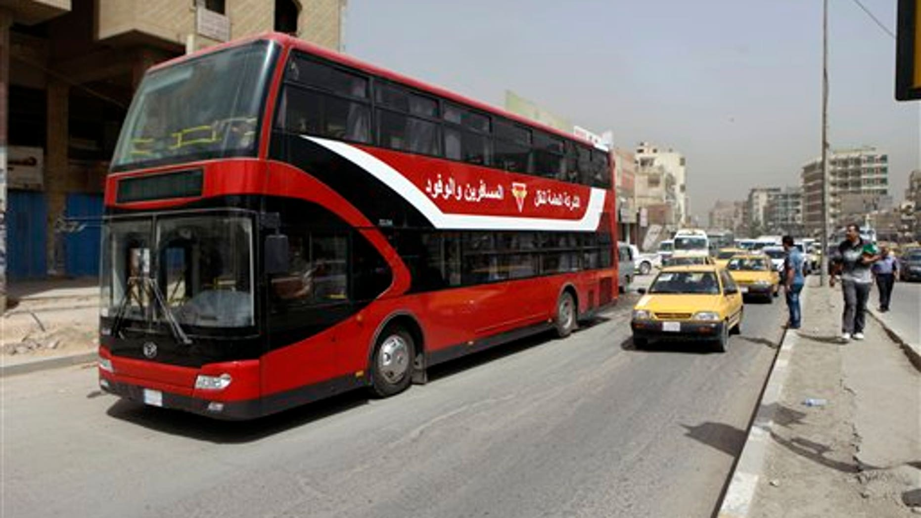 May 30, 2012: A double-decker bus is seen in downtown Baghdad, Iraq.
