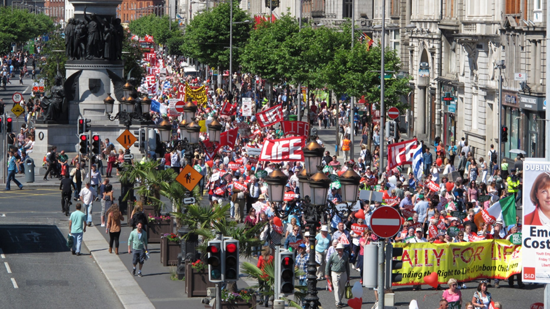 A July 6, 2013 file photo showing thousands of anti-abortion protesters filling Dublin's major thoroughfare, as they march against Ireland's abortion bill. United Nations human rights experts said Thursday June 9, 2016 that Ireland's abortion ban subjects women to discriminatory, cruel and degrading treatment and should be ended for cases involving fatal fetal abnormalities.