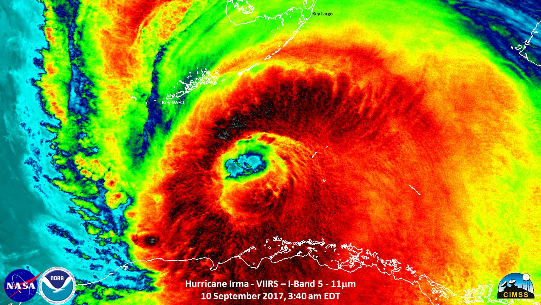 The Suomi NPP satellite captured this infrared image on Sunday (Sept. 10). Strong thunderstorms are visible around the well-defined eye of Irma.
