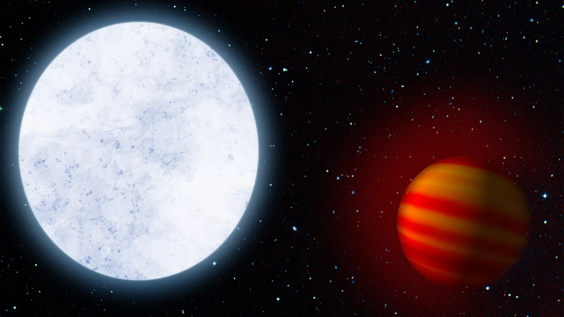 Artist's impression of the star KELT-9 and its planet KELT-9b, the hottest known exoplanet Credit: MPIA