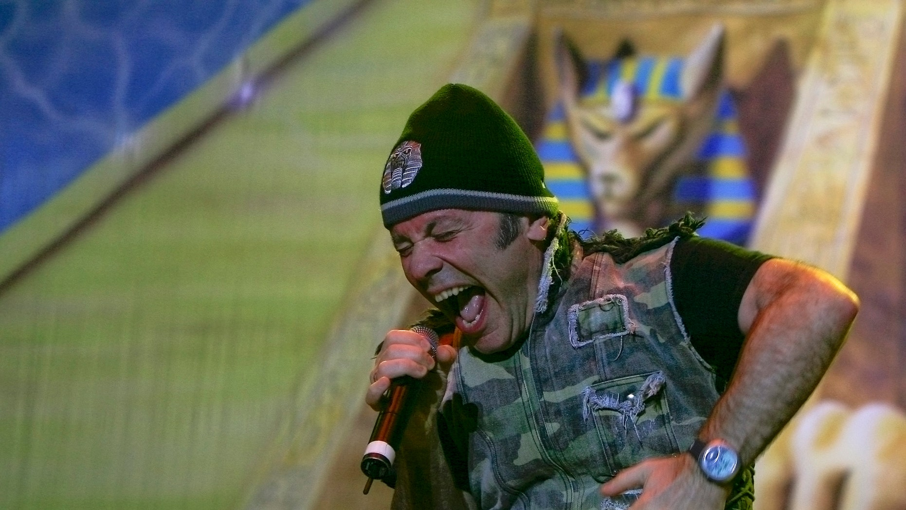 """British heavy metal band Iron Maiden's lead vocalist Bruce Dickinson performs during a concert at the Morera Soto Stadium in Alajuela March 3, 2009. The band, on their """"Somewhere back in time"""" tour, performed for the second time in the country. REUTERS/Monica Quesada (COSTA RICA) - RTXCBO0"""
