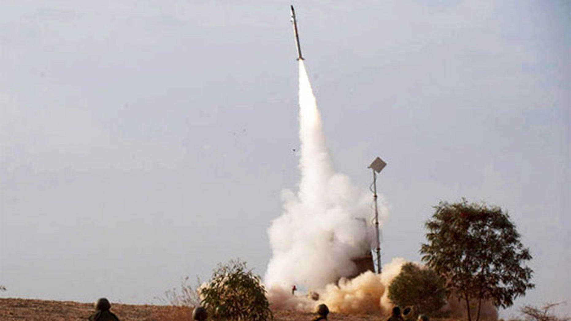 An Israeli Iron Dome interceptor shoots skyward toward an incoming rocket. (AP)