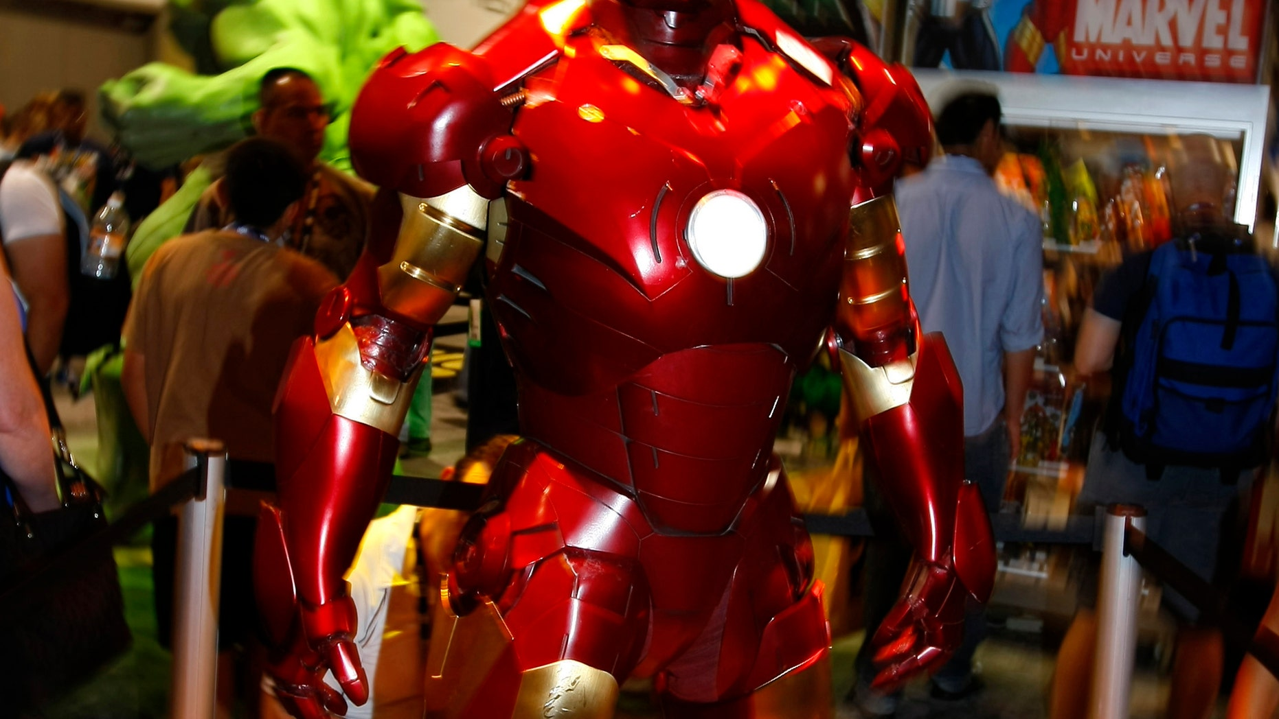 """File photo - A life size """"Iron Man"""" is on display in the Marvel booth at the 39th annual Comic Con Convention in San Diego July 24, 2008. (REUTERS/Mike Blake)"""