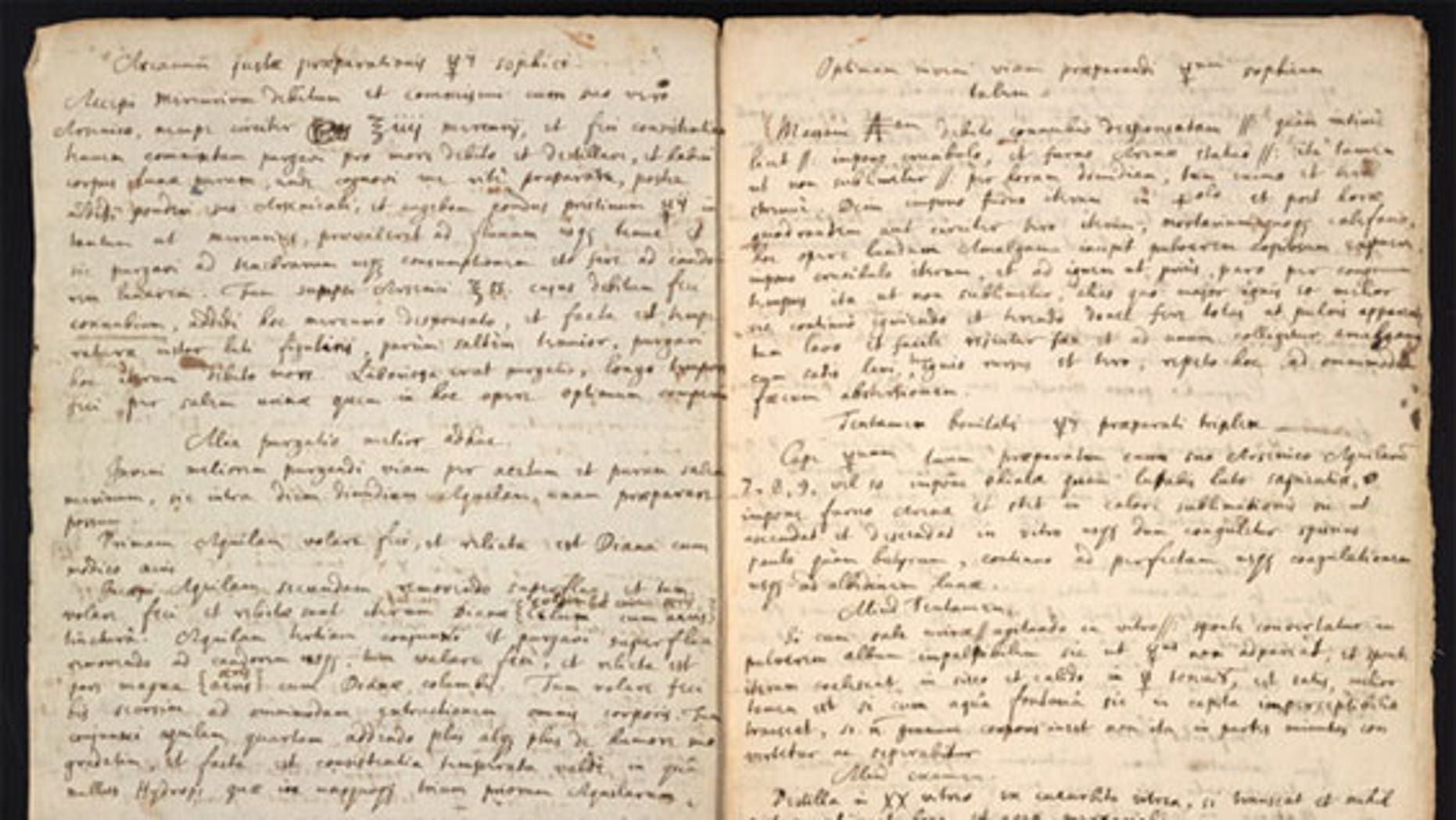 The Isaac Newton manuscript (The Chemical Heritage Foundation).