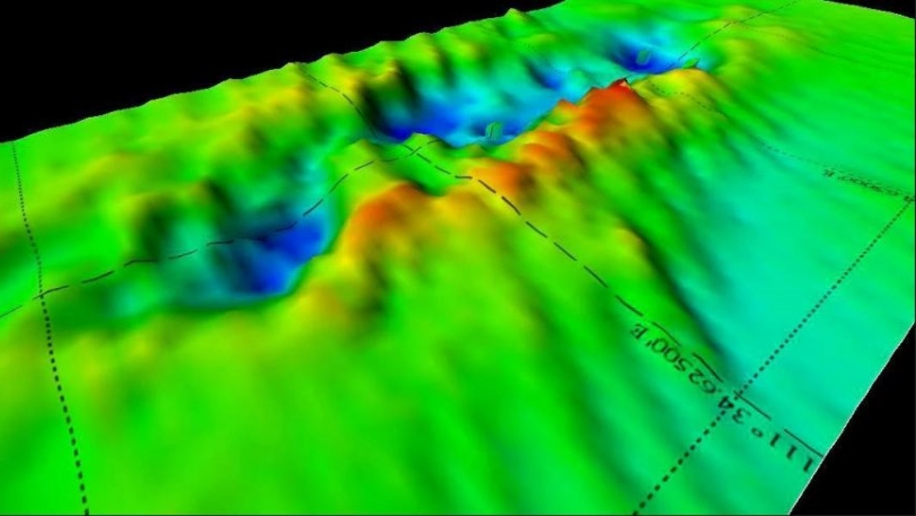 A 3D sonar scan of the remains of British warship HMS Electra, one of several war wrecks in the Java Sea thought to have been plundered by metal scavenging operators.