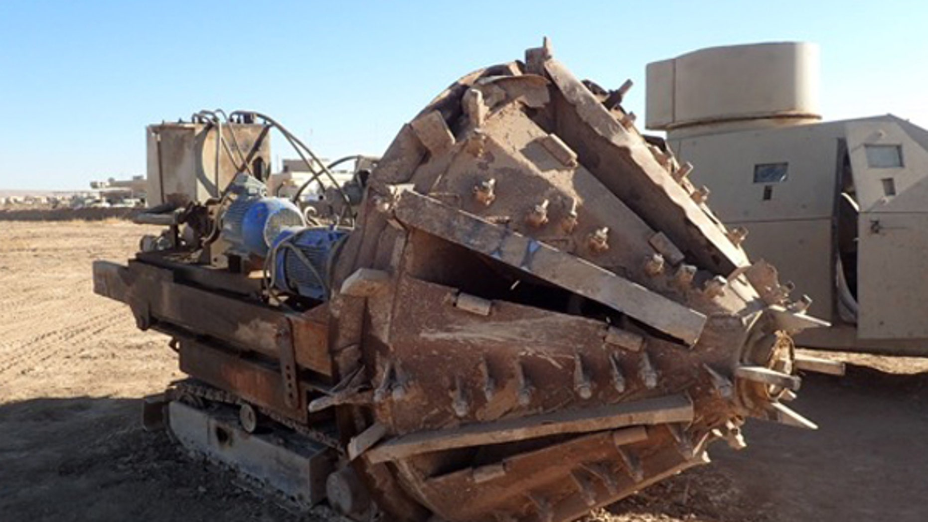 An ISIS tunnel-boring machine captured by the Iraqi Army's 9th Division in a village east of Mosul.