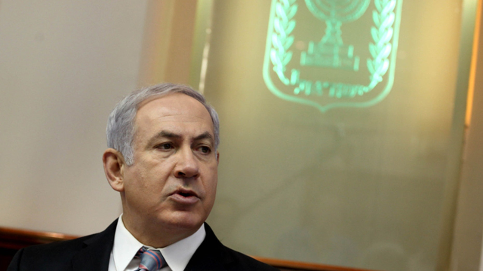 """Oct. 10: Israeli Prime Minister Benjamin Netanyahu convenes the weekly cabinet meeting at his Jerusalem office. Israel's Cabinet is set to approve a charged bill that will require new citizens to pledge allegiance to a """"Jewish and democratic"""" state."""