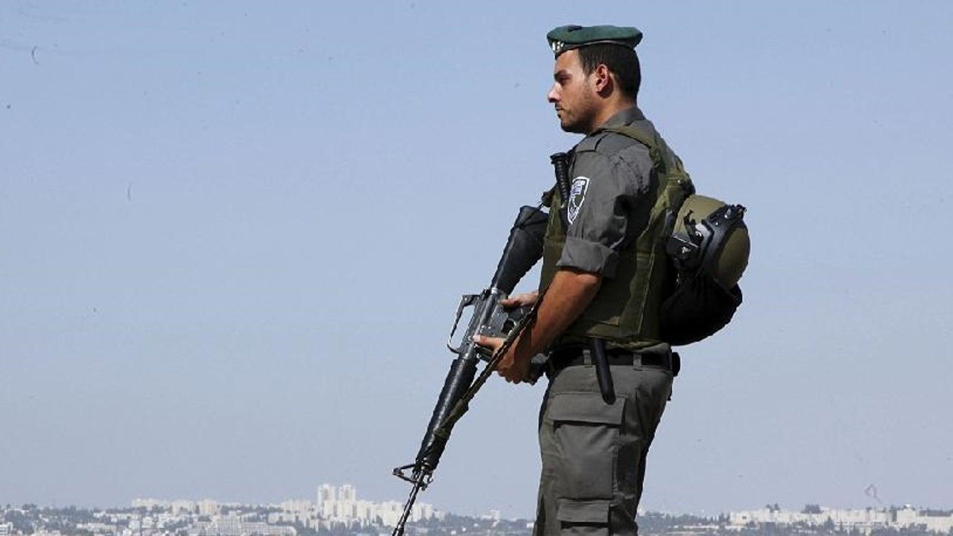 An Israeli border policeman in October.
