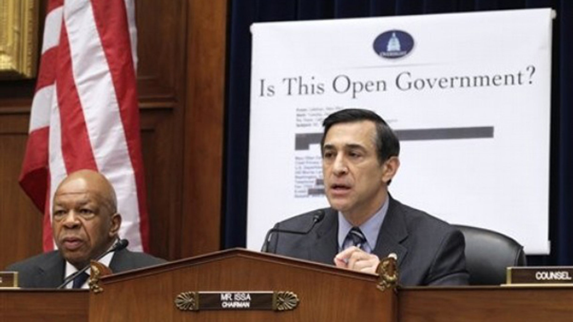 House Oversight and Government Reform Committee Chairman Rep. Darrell Issa, right, accompanied by Democrat Rep. Elijah Cummings, presides over a hearing March 31 on Capitol Hill.